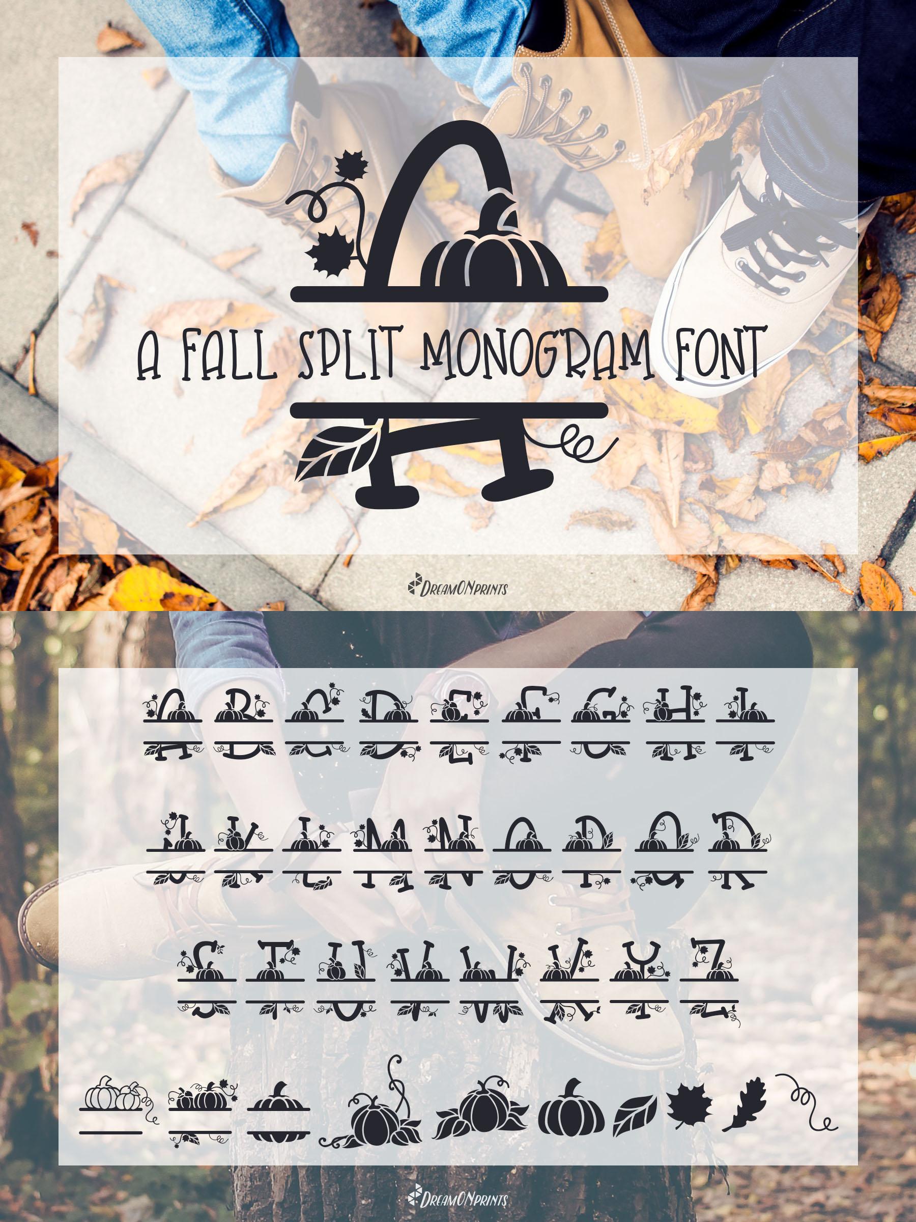 Fall Leaves - Split Monogram Font example image 4