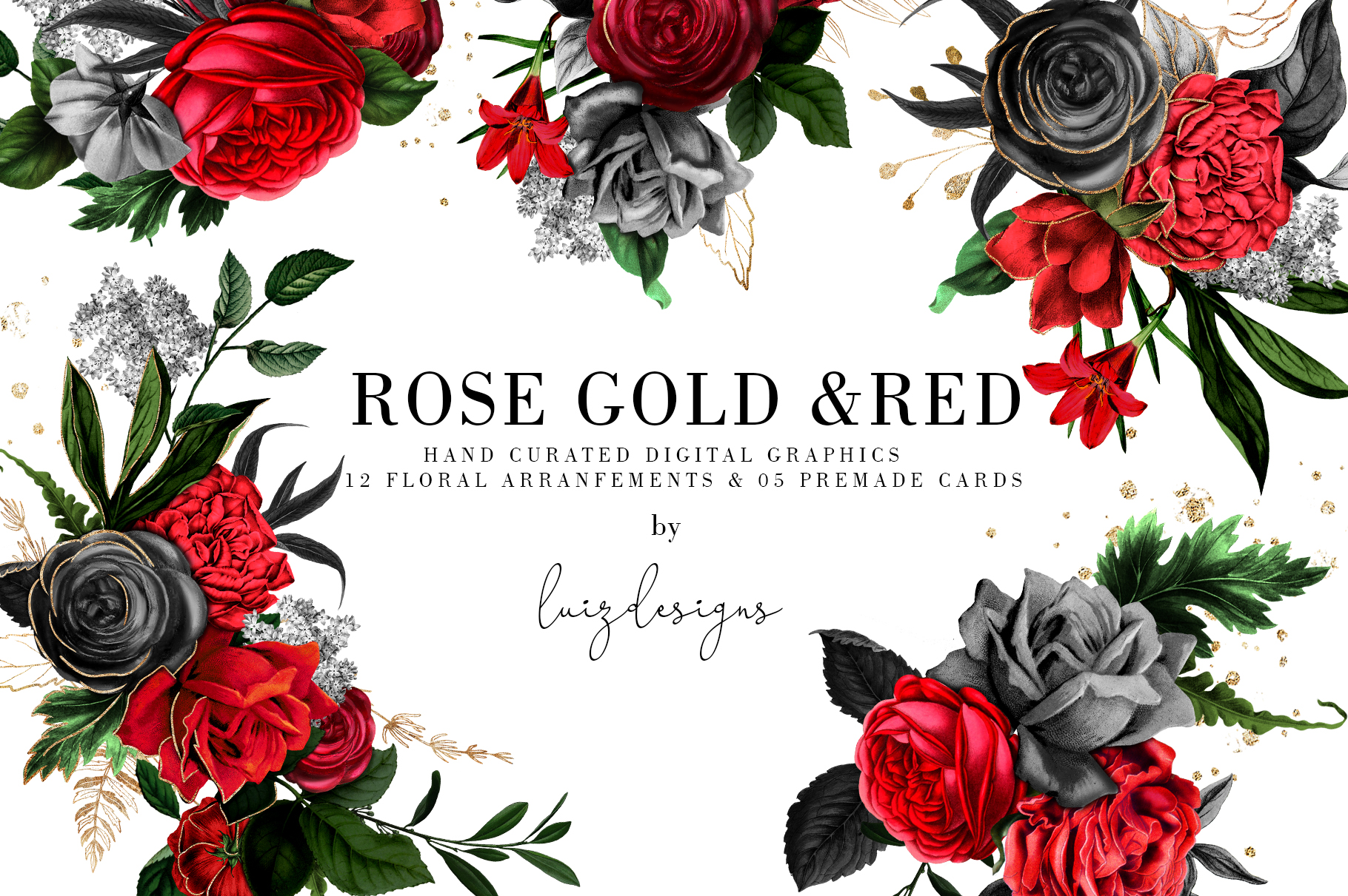Red Flowers and Gold| Roses vintage and gold example image 2