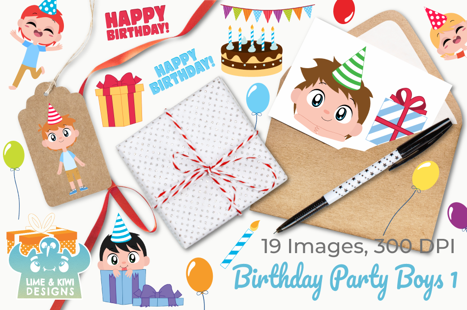 Birthday Party Boys 1 Clipart, Instant Download Vector Art example image 4