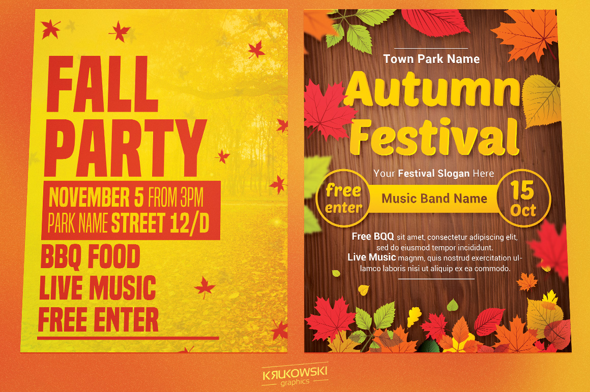 Fall Autumn Flyers Templates example image 2