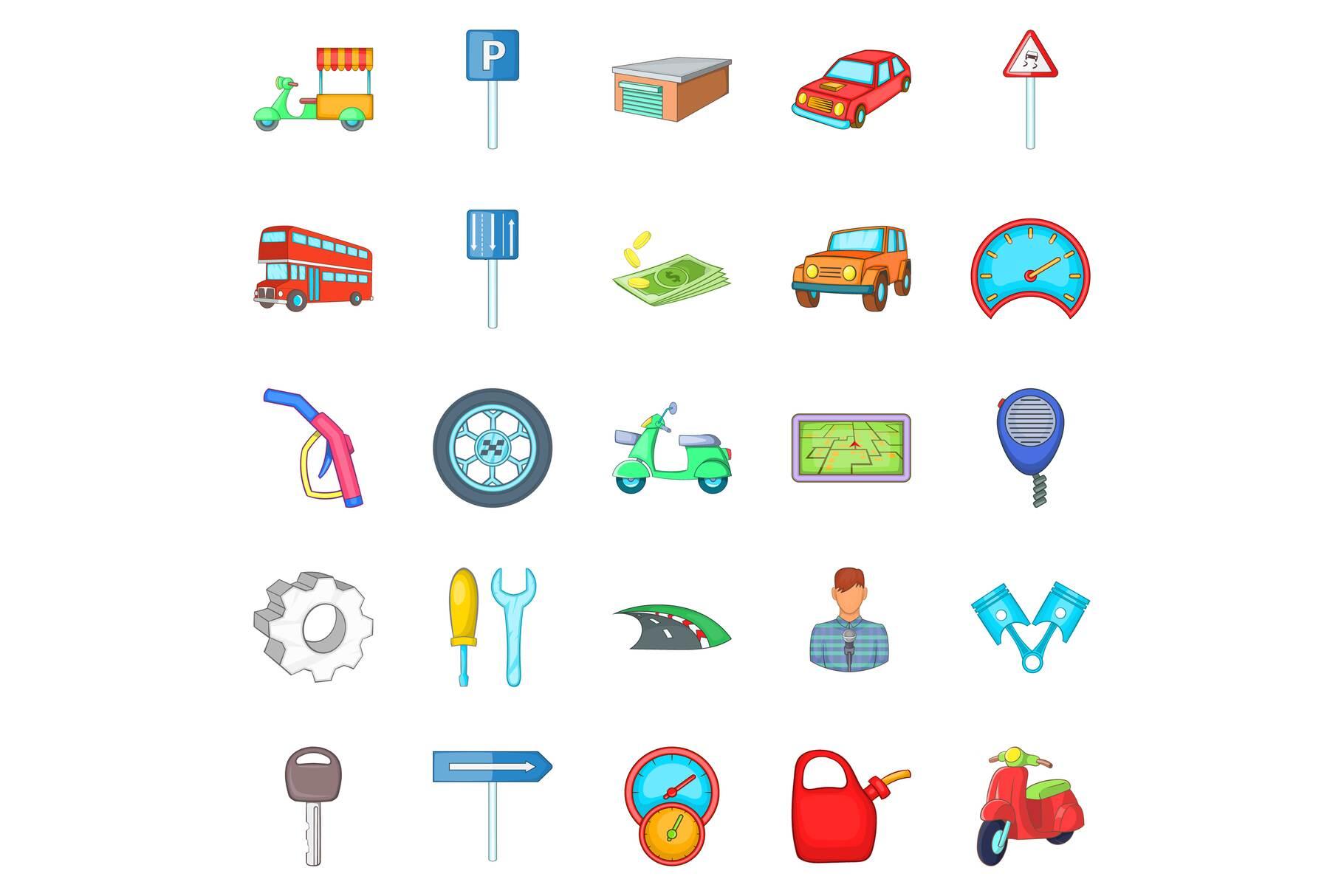 Motor car icons set, cartoon style example image 1