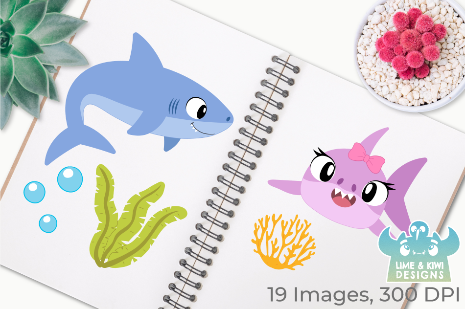 Shark Family Clipart, Instant Download Vector Art example image 3