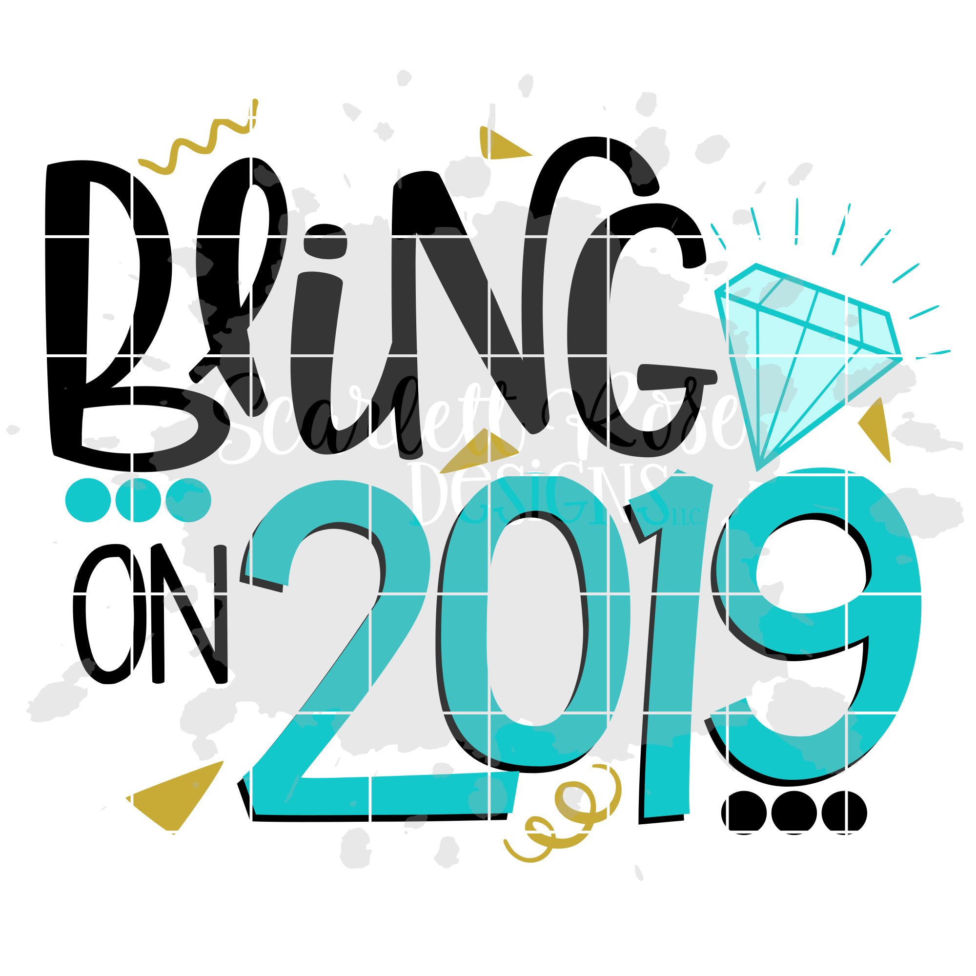 Bling on 2019 - New Year's SVG example image 2