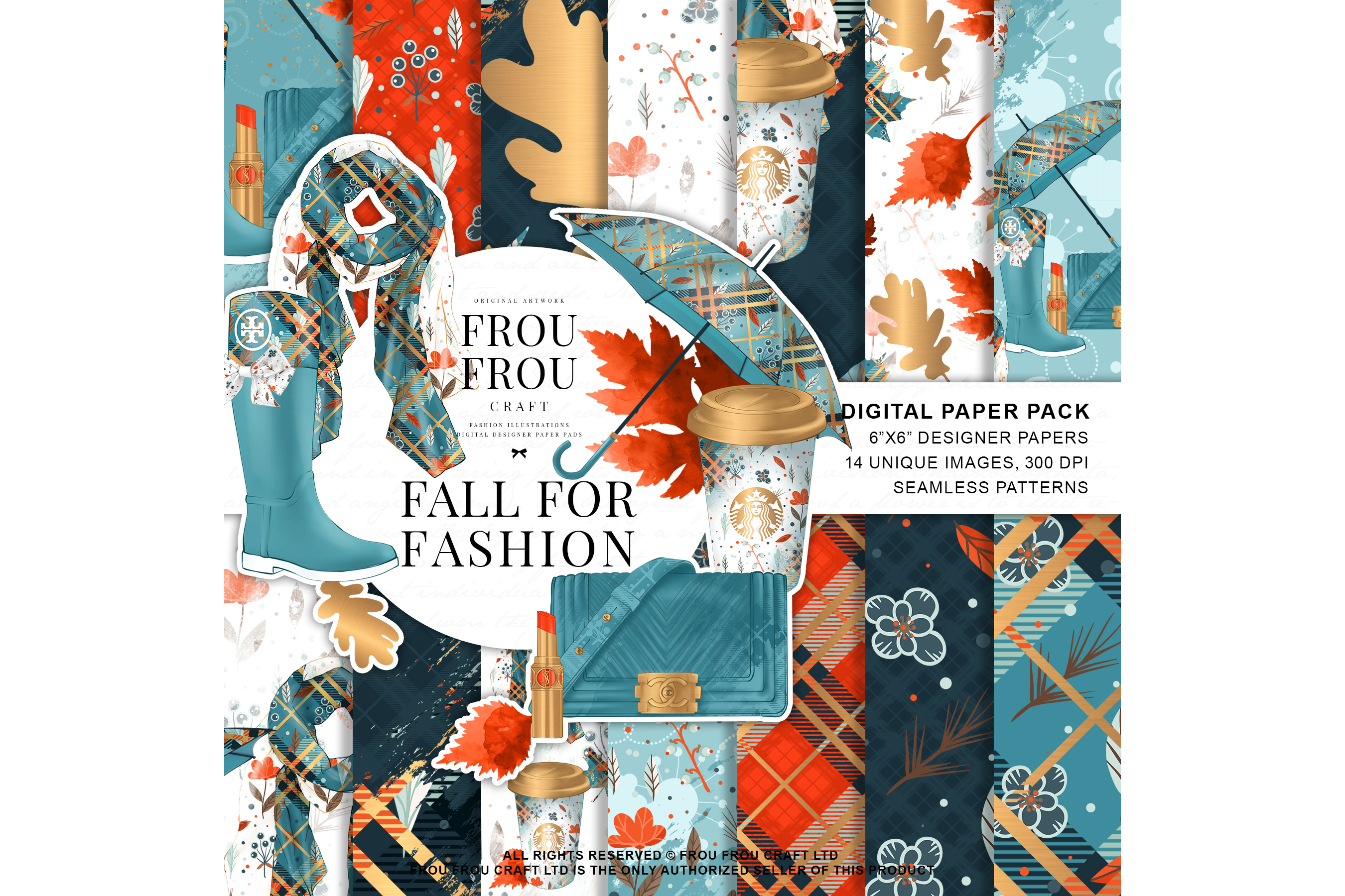 Fall Autumn Leaves Fashion Gold Lipstick Paper Pack example image 1