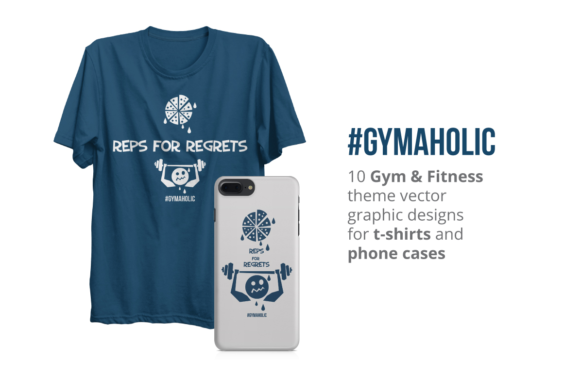 Gymaholic- Gym & Fitness Inspirational Print Designs Pack example image 4