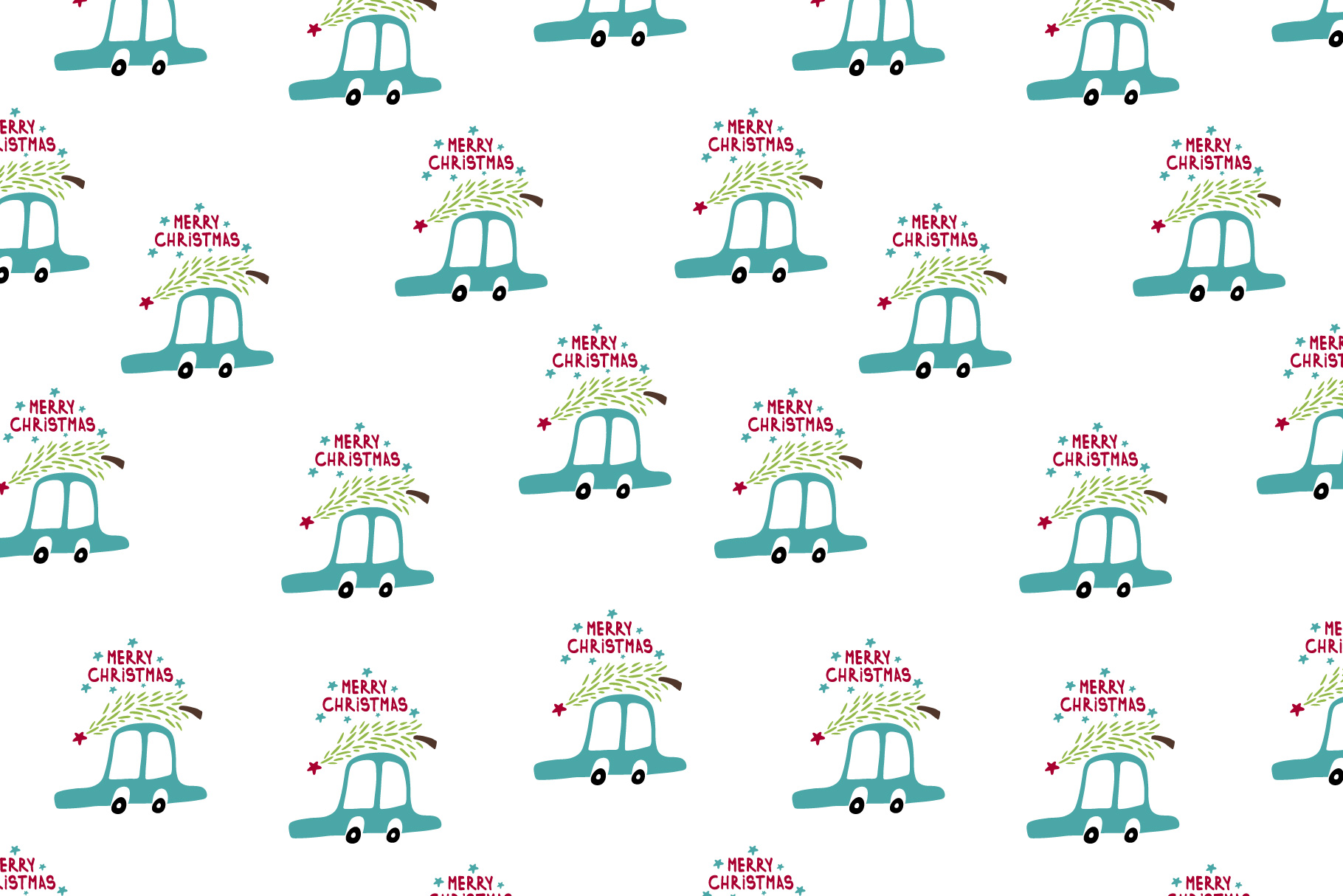 Cute cartoon cars pattern. Merry Cristmas pattern. example image 2