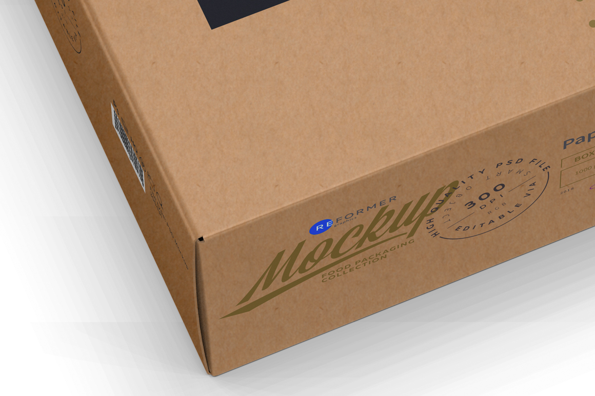 Kraft Paper Box Mockup Half Side View example image 4
