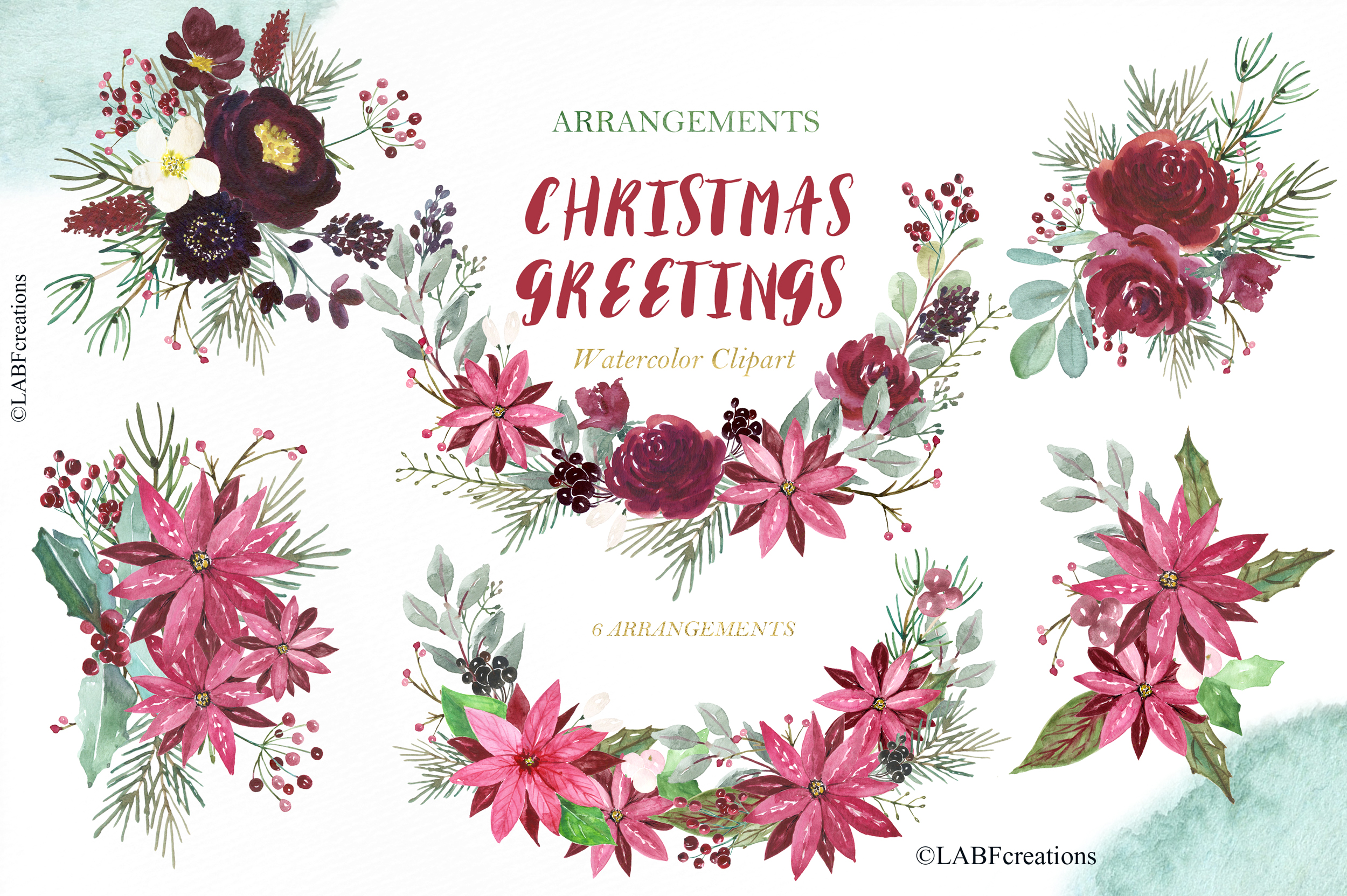 Christmas greetings. Hand drawn watercolor collection. example image 4
