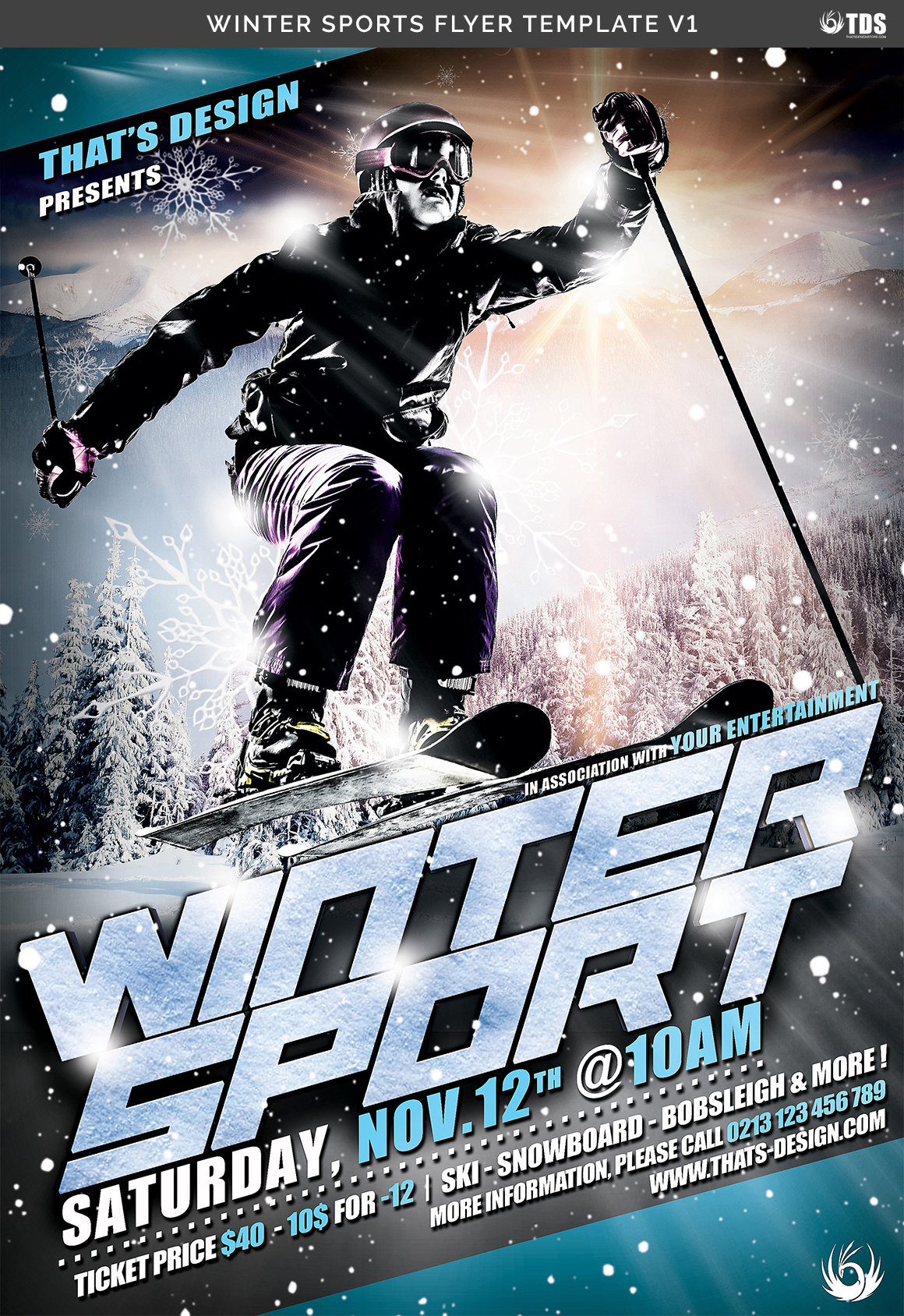 Winter Sports Flyer Template V1 example image 7