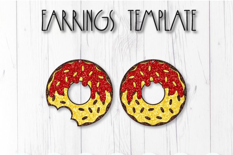 Donut earrings template SVG, DIY earrings template example image 1