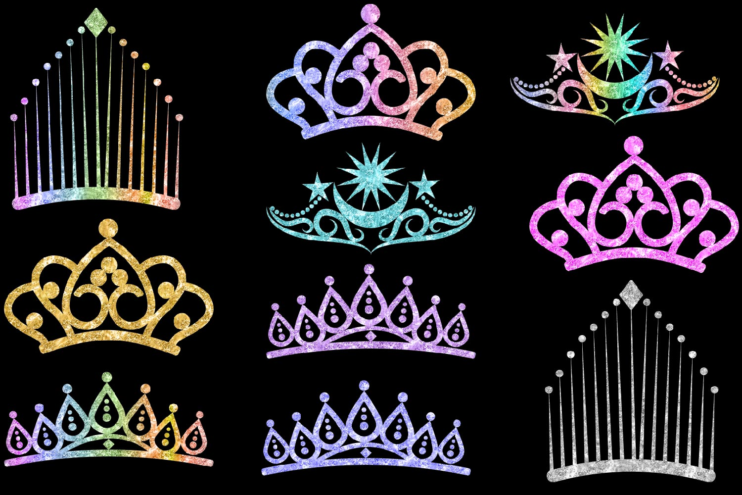 Glitter Crowns Clipart example image 2