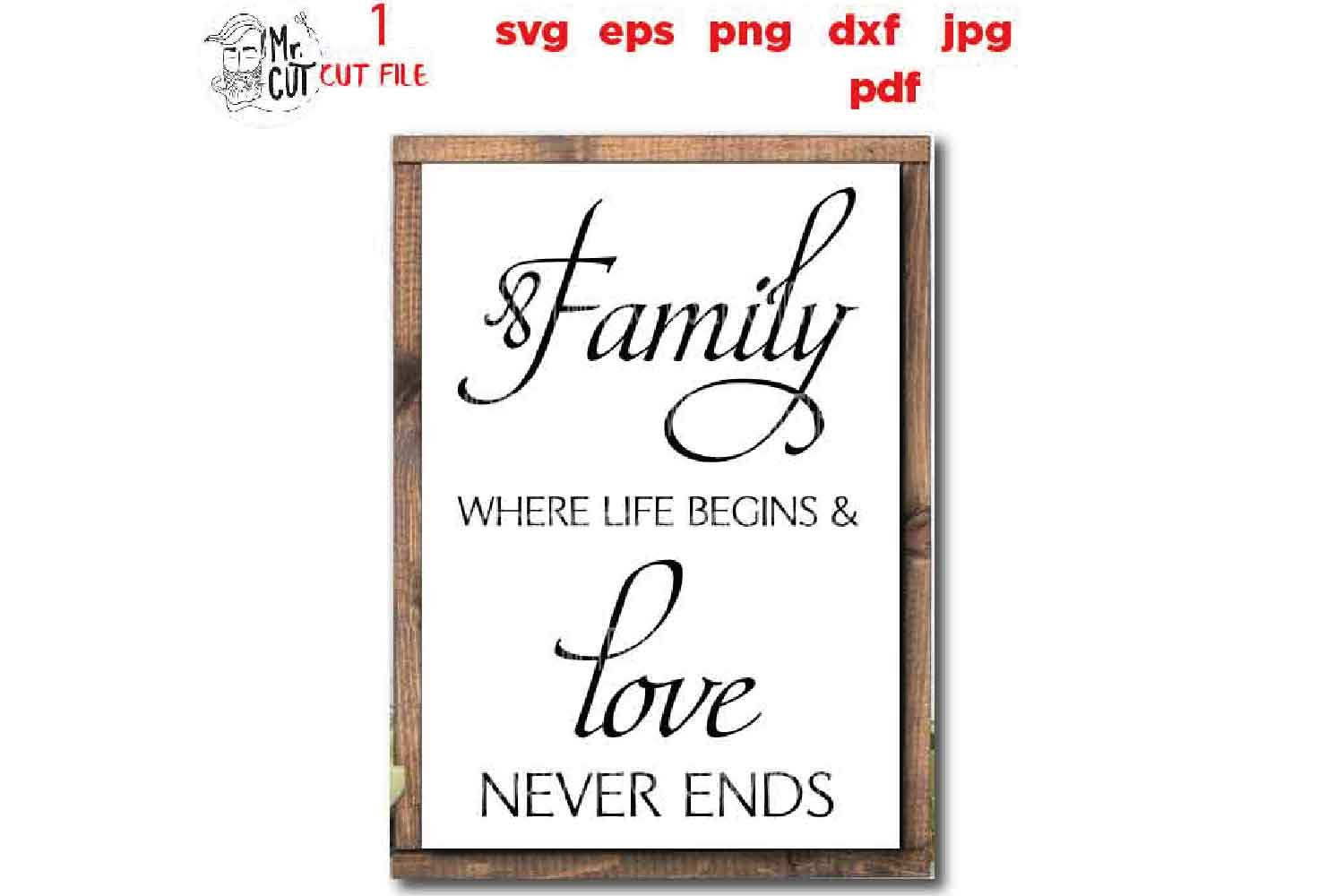 Family Where Life Begins SVG, Family SVG, Where Life Begins example image 1