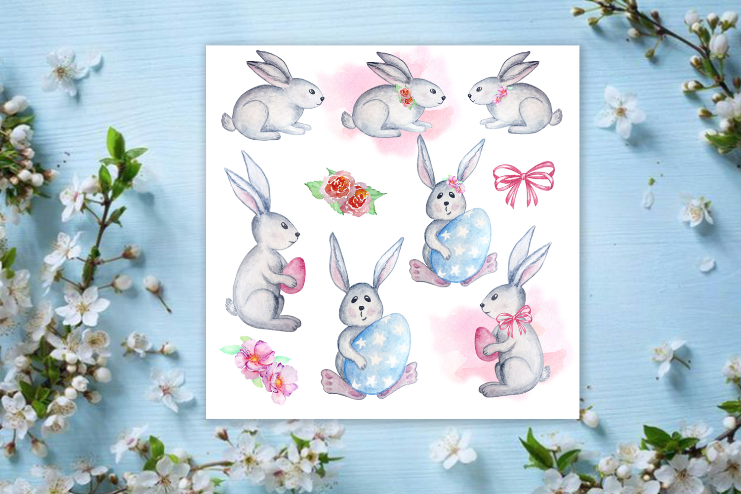 Watercolor Happy Easter Clipart Set example image 2