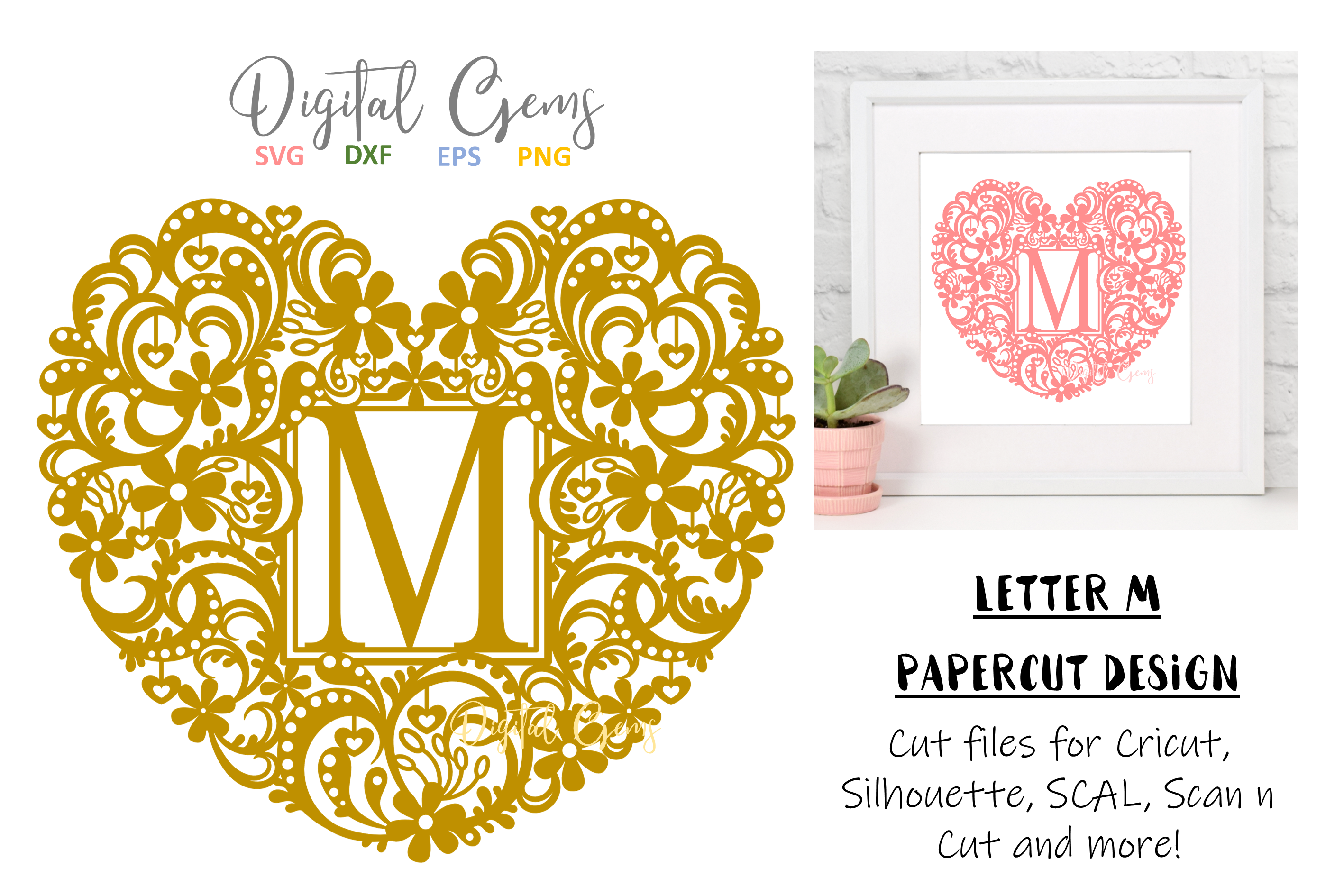 Letter M paper cut design. SVG / DXF / EPS / PNG files example image 1