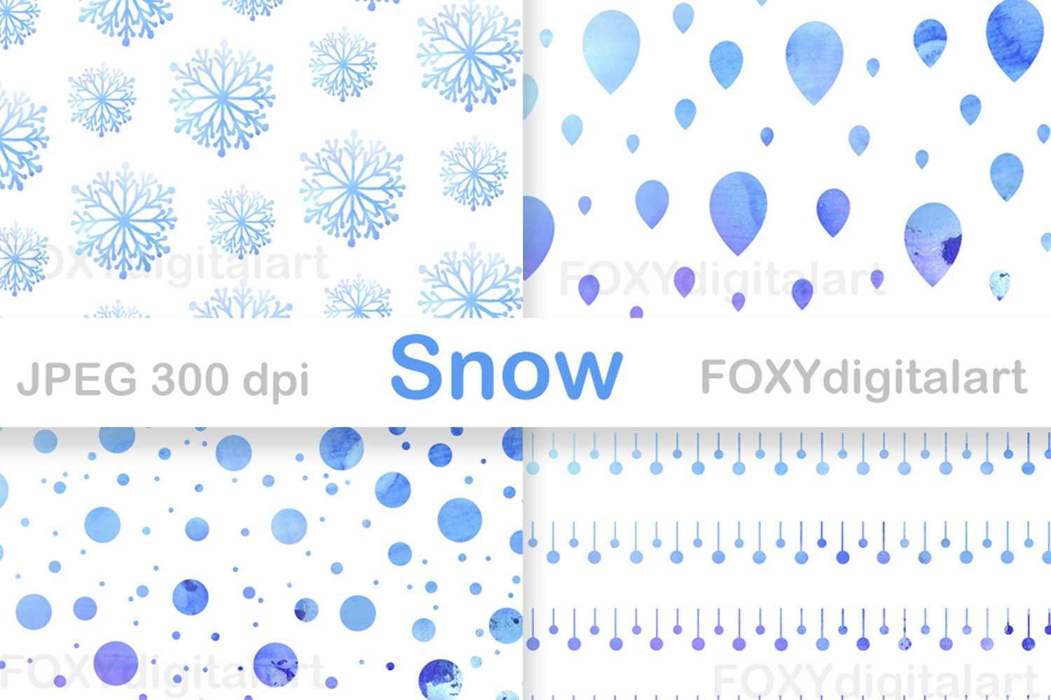 Digital paper christmas holiday winter snow flakes example image 2