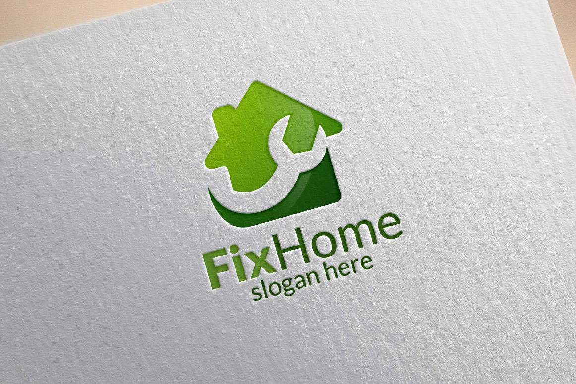 Real estate Logo, Fix Home Vector Logo Design suitable for architecture,  handyman,bricolage,Diy,and for another application company example image 2