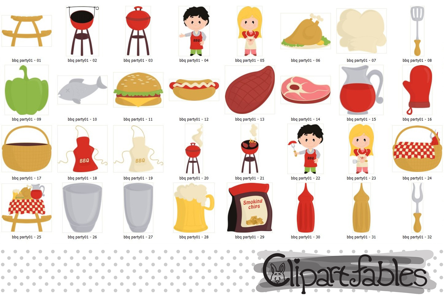 Cute BBQ party, Barbeque clipart, Picnic, Grill, - INSTANT example image 2