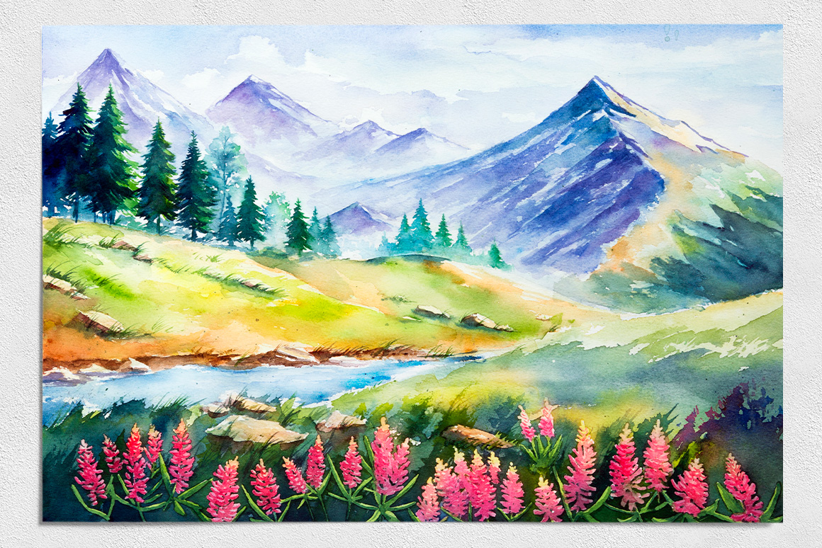 Spring Landscapes. Watercolor. example image 6