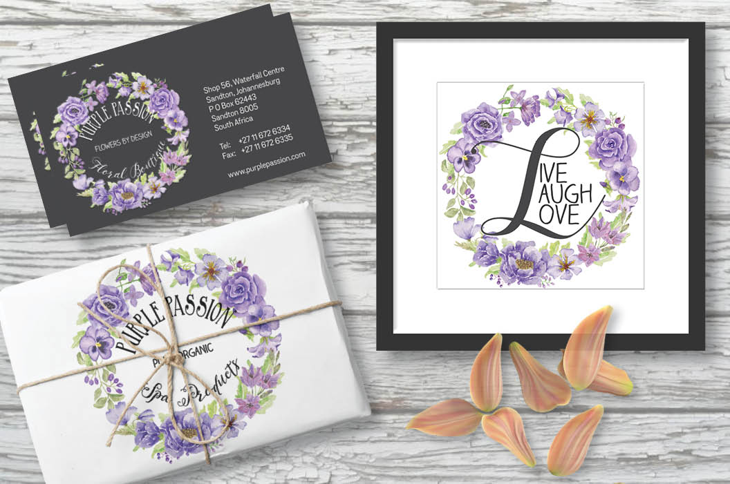 'Purple Passion': Watercolor wreath of purple flowers example image 3