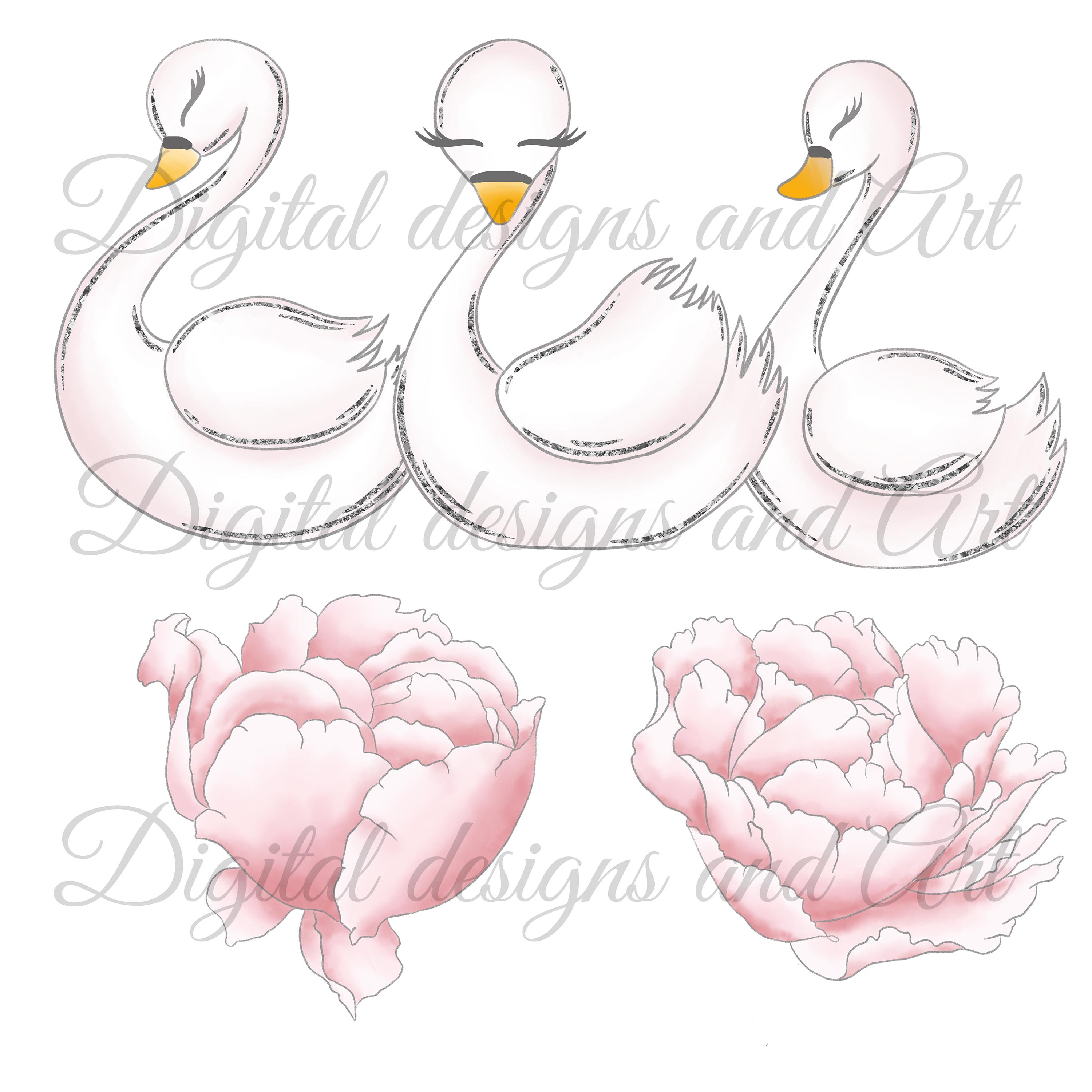 Wild swans clipart example image 5