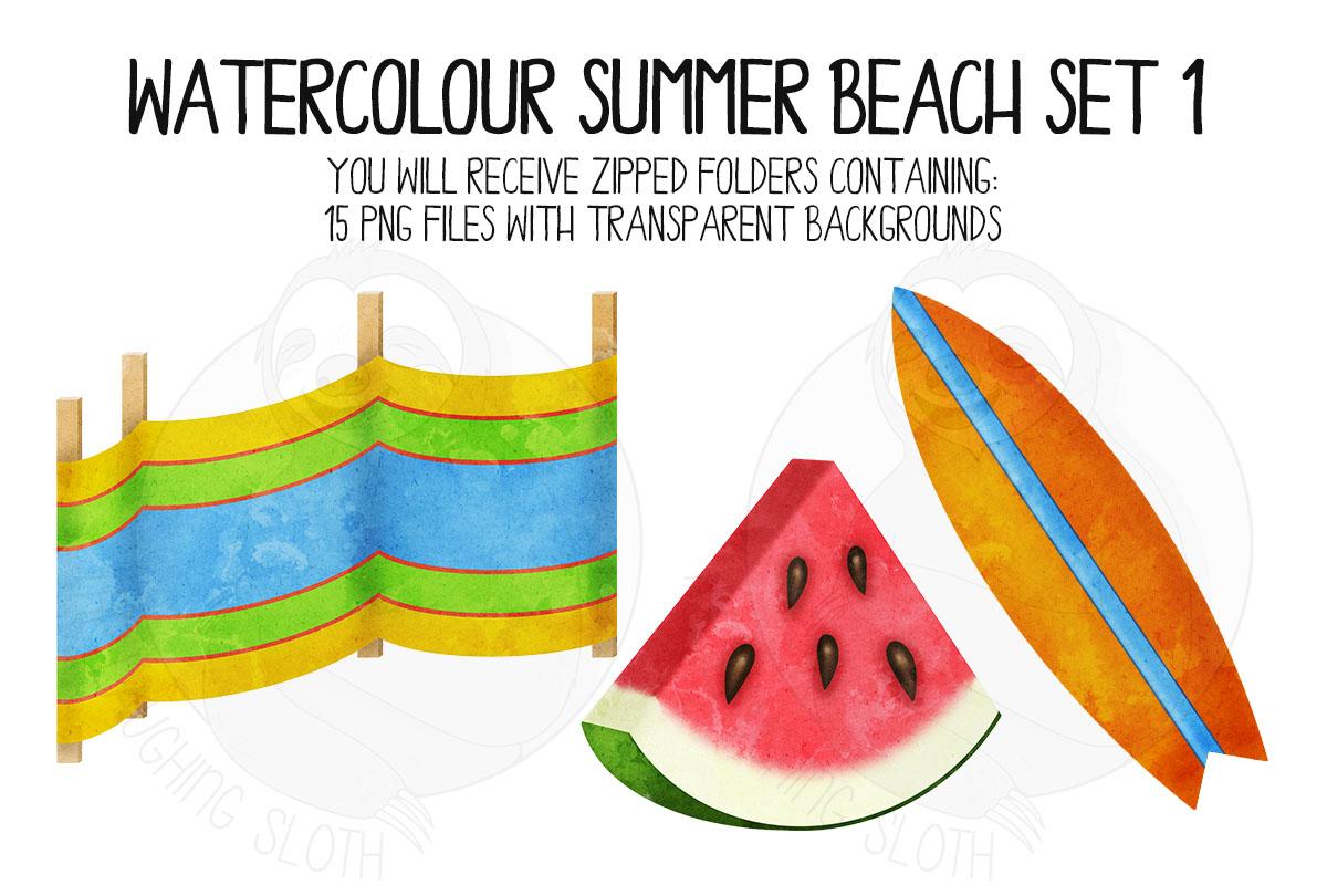 Watercolor Summer Beach Clip Art Set 1 example image 6