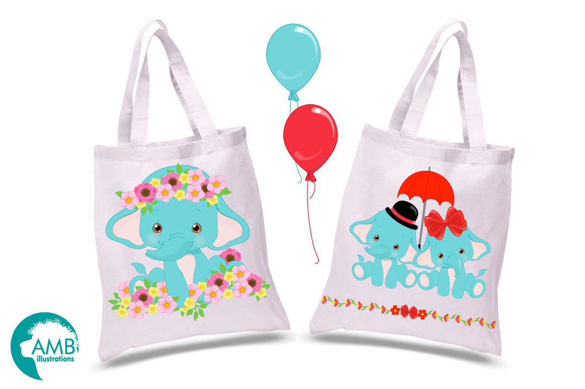 BABY ELEPHANT BUNDLE! 53 cliparts, graphics and illustrations and Patterns AMB-2273 example image 13