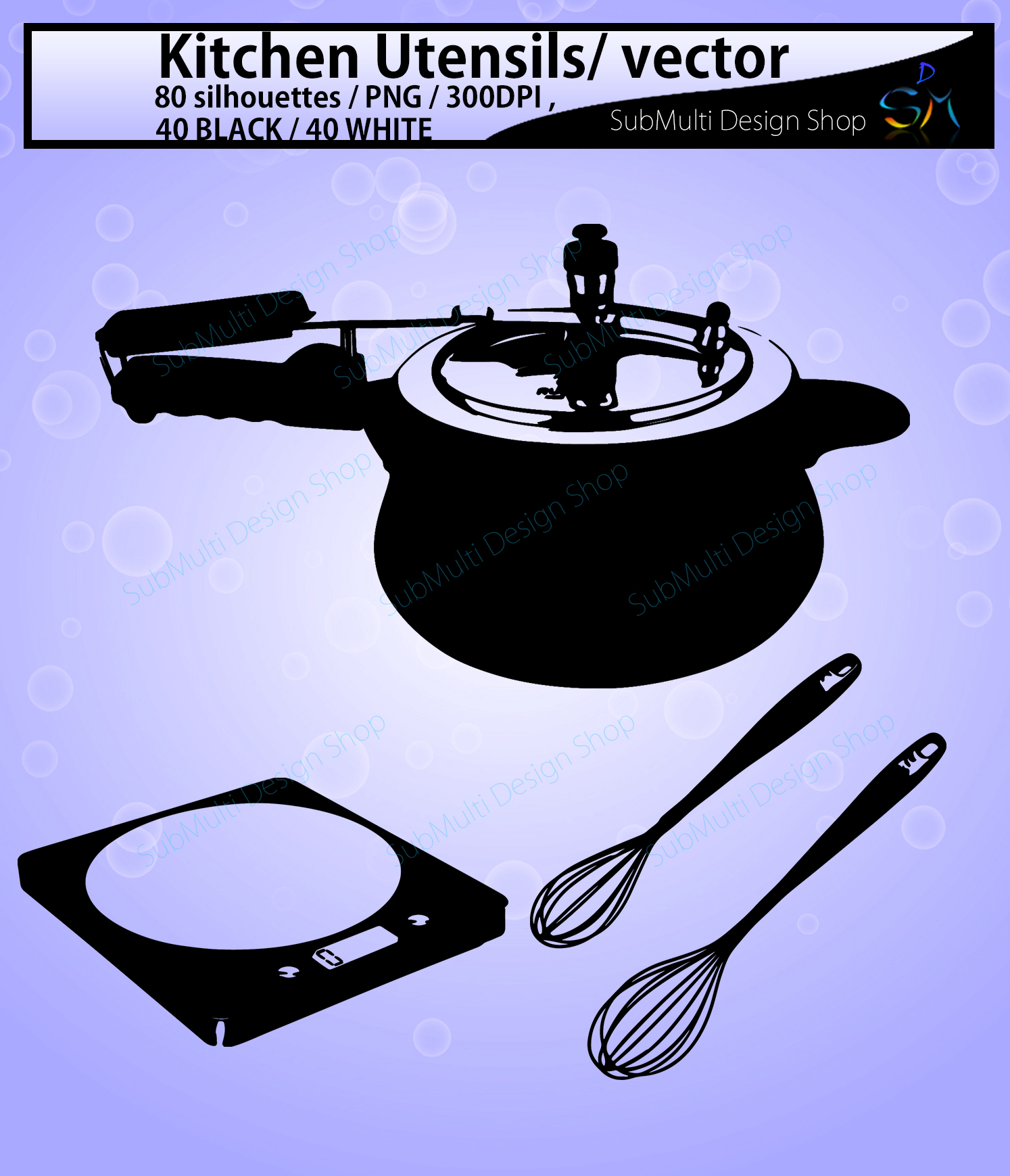 Kitchen Utensils silhouette svg / Kitchen Utensils clipart / Kitchen Utensil for scrapbook and card making /vector / EPS / PNG / craft files example image 4
