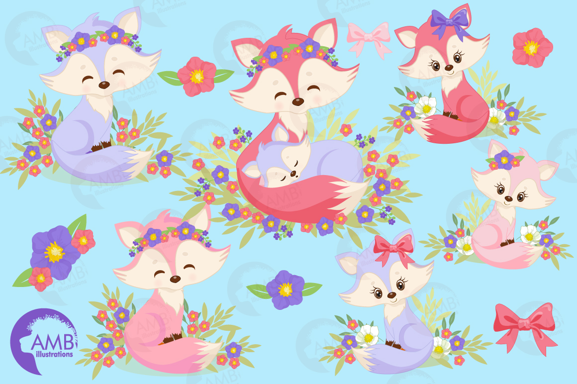 Cute Girl Foxes clipart, graphics, illustrations AMB-1377 example image 5