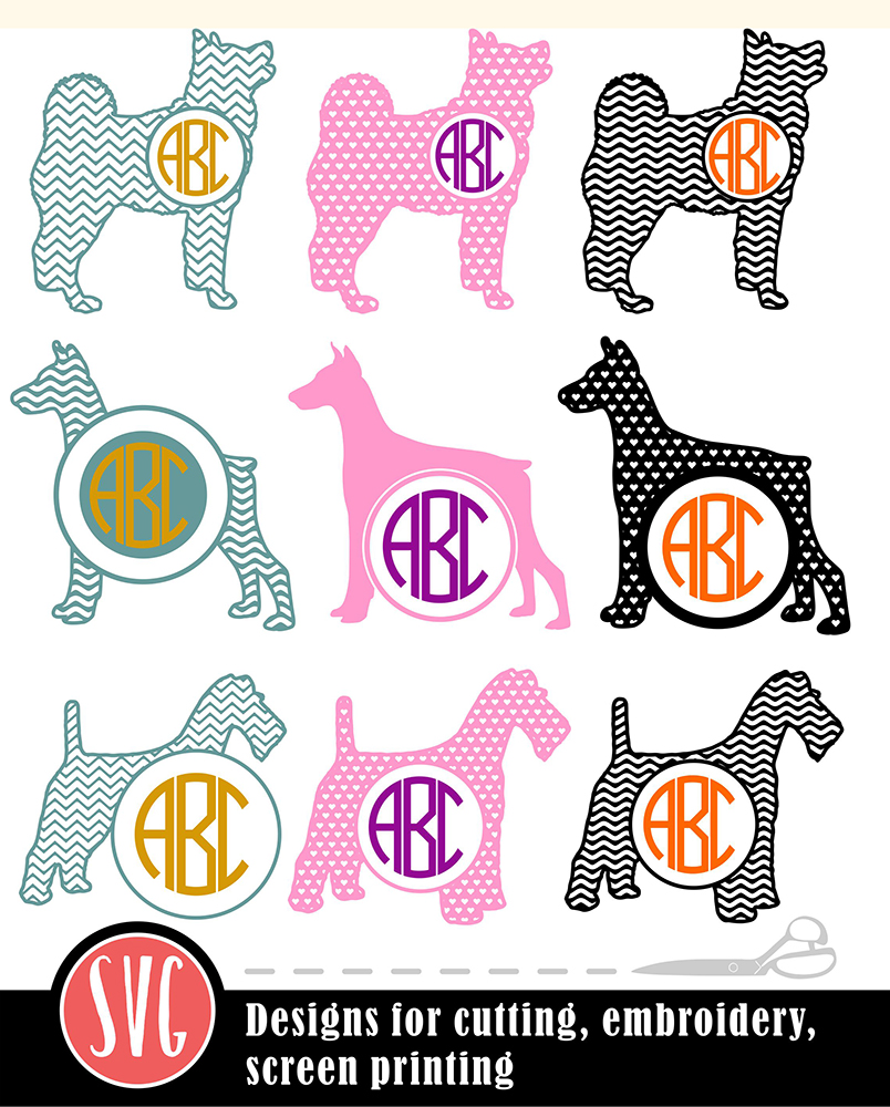 9 Dog Monograms Bundle SVG, DXF, JPG, PNG, DWG, AI, EPS example image 2