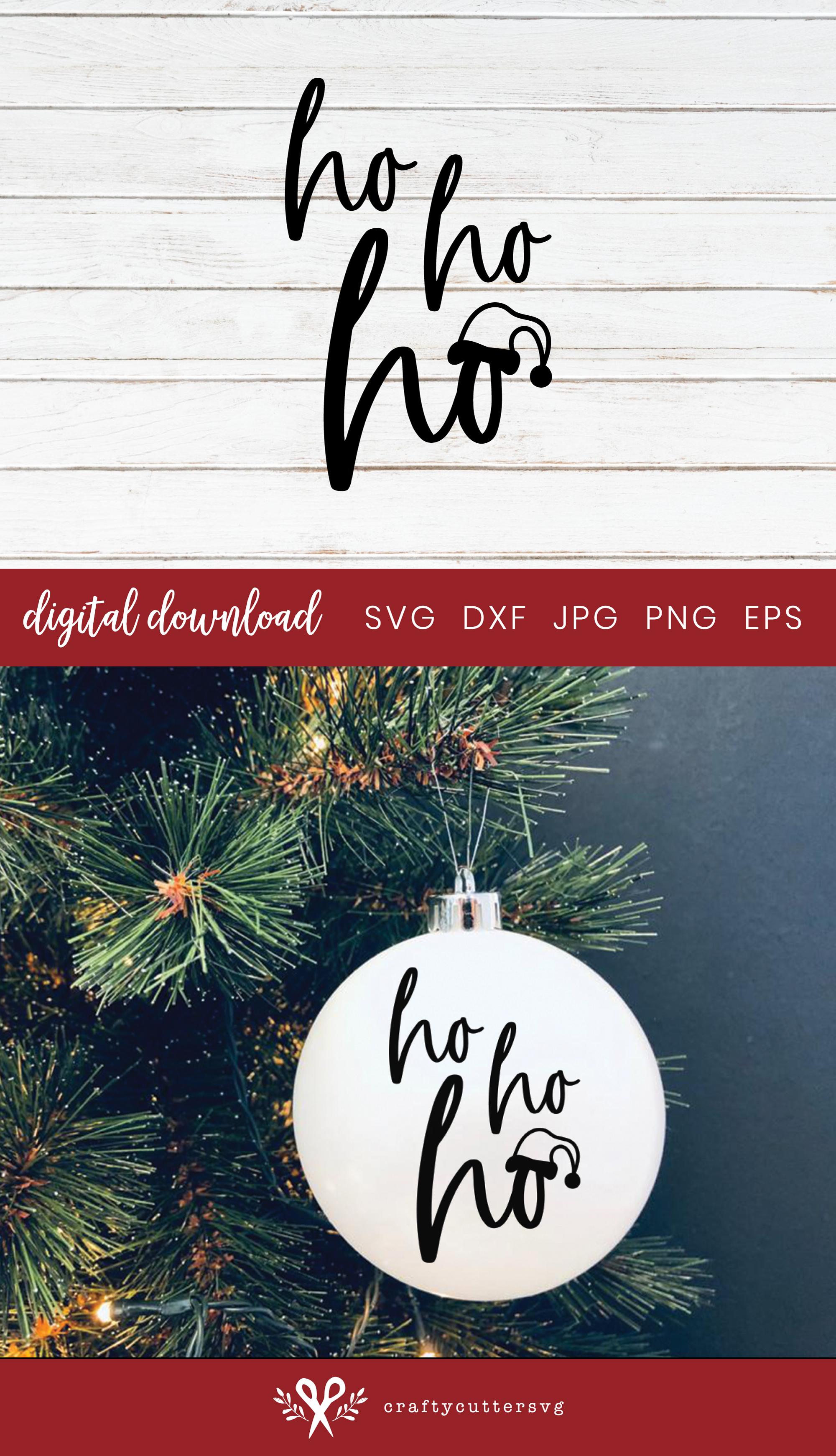 Christmas Decoration Ho Ho Ho Santa Cut File Bell Clipart example image 3