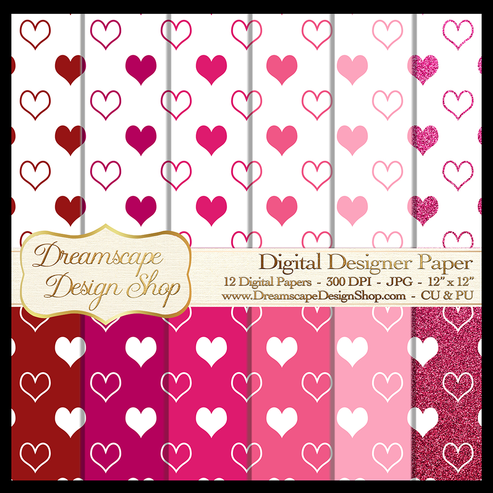 Pink and Red Hearts (Set 1) - Valentine's Day - Digital Paper - 12 JPG Images at 300 DPI - Digital Product Instant Download example image 1