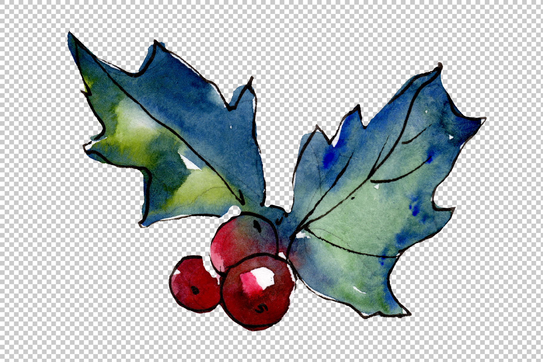 Christmas tea-drinking watercolor PNG example image 4