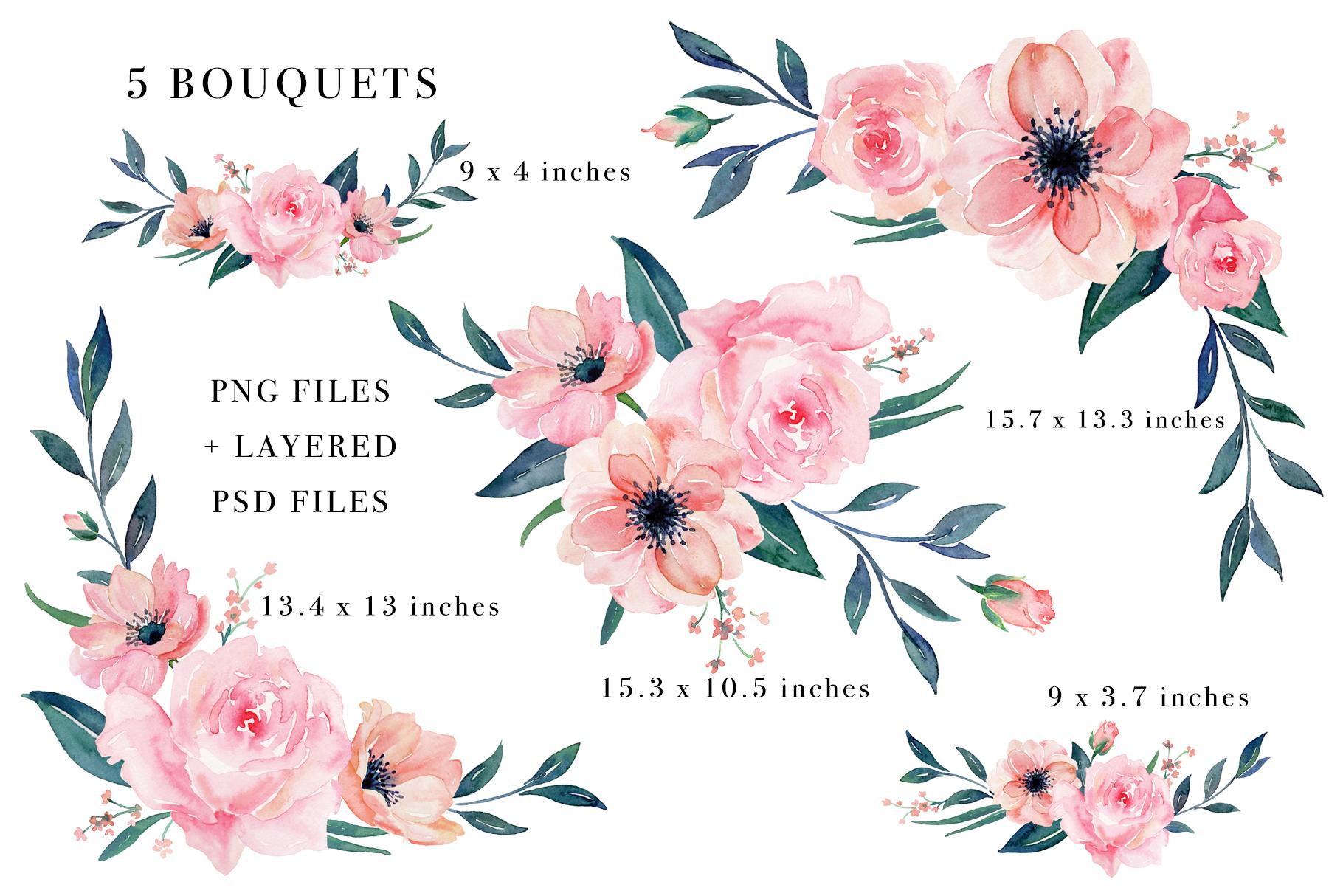Floral Watercolor Bundle example image 21