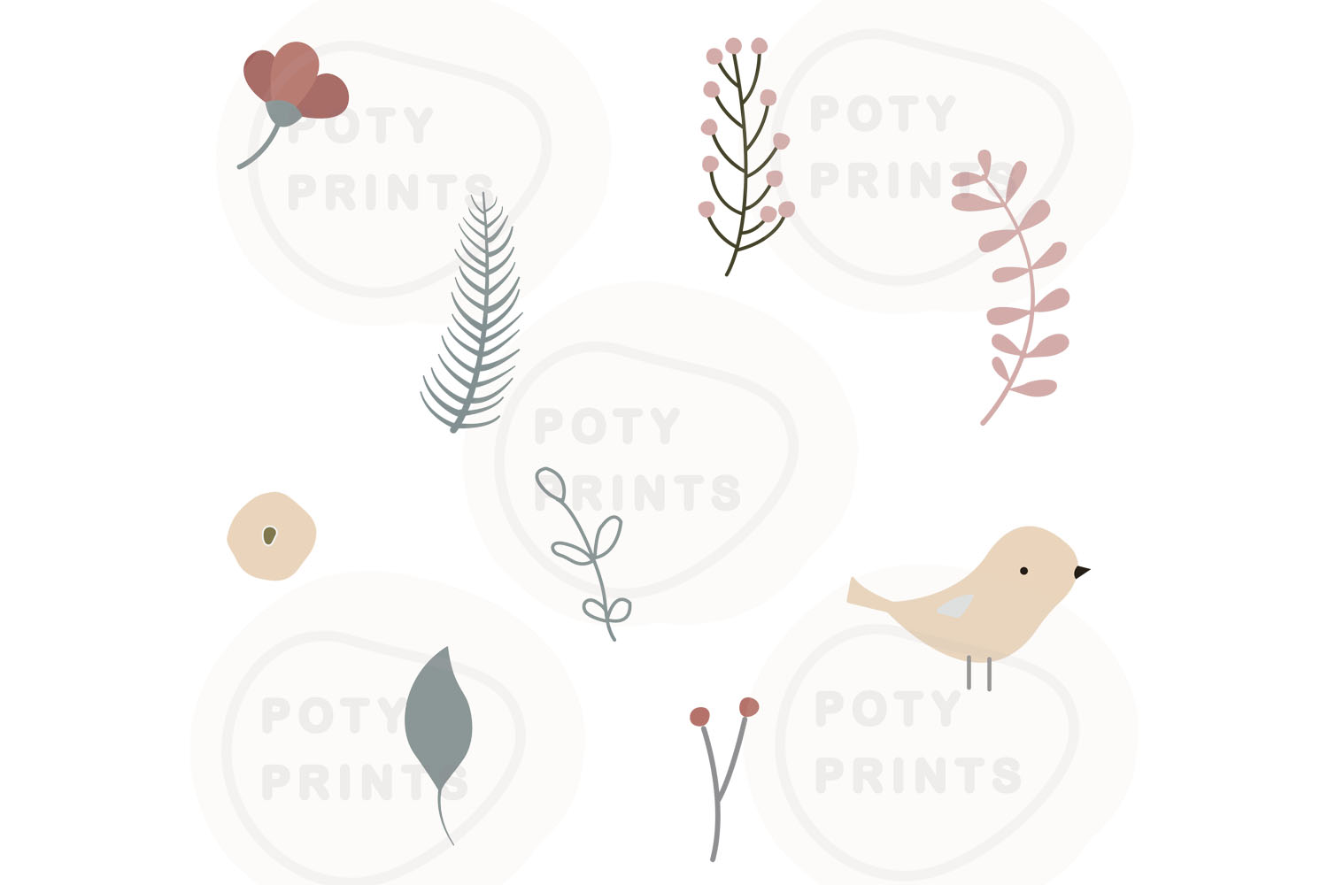 Laurel leaf clipart and bird set example image 1