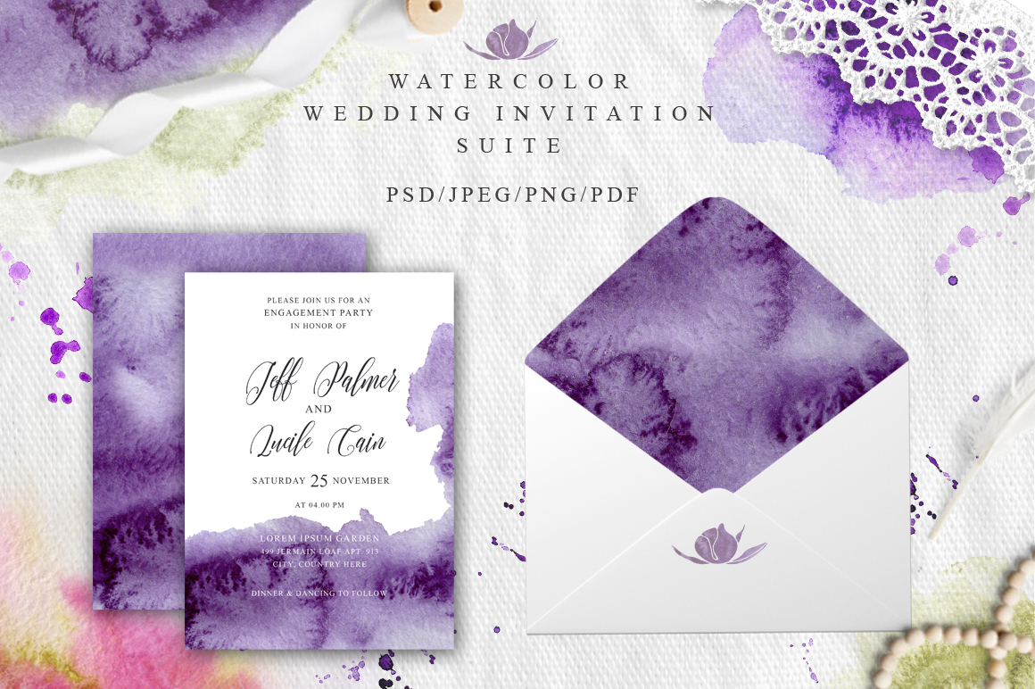 Ultra Violet Watercolor Wedding Invitation suite example image 2
