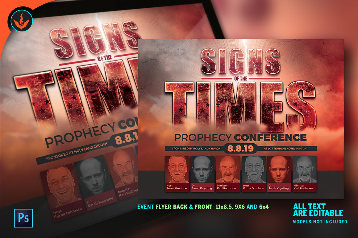Signs of the Times Prophecy Conference Flyer Template example image 7