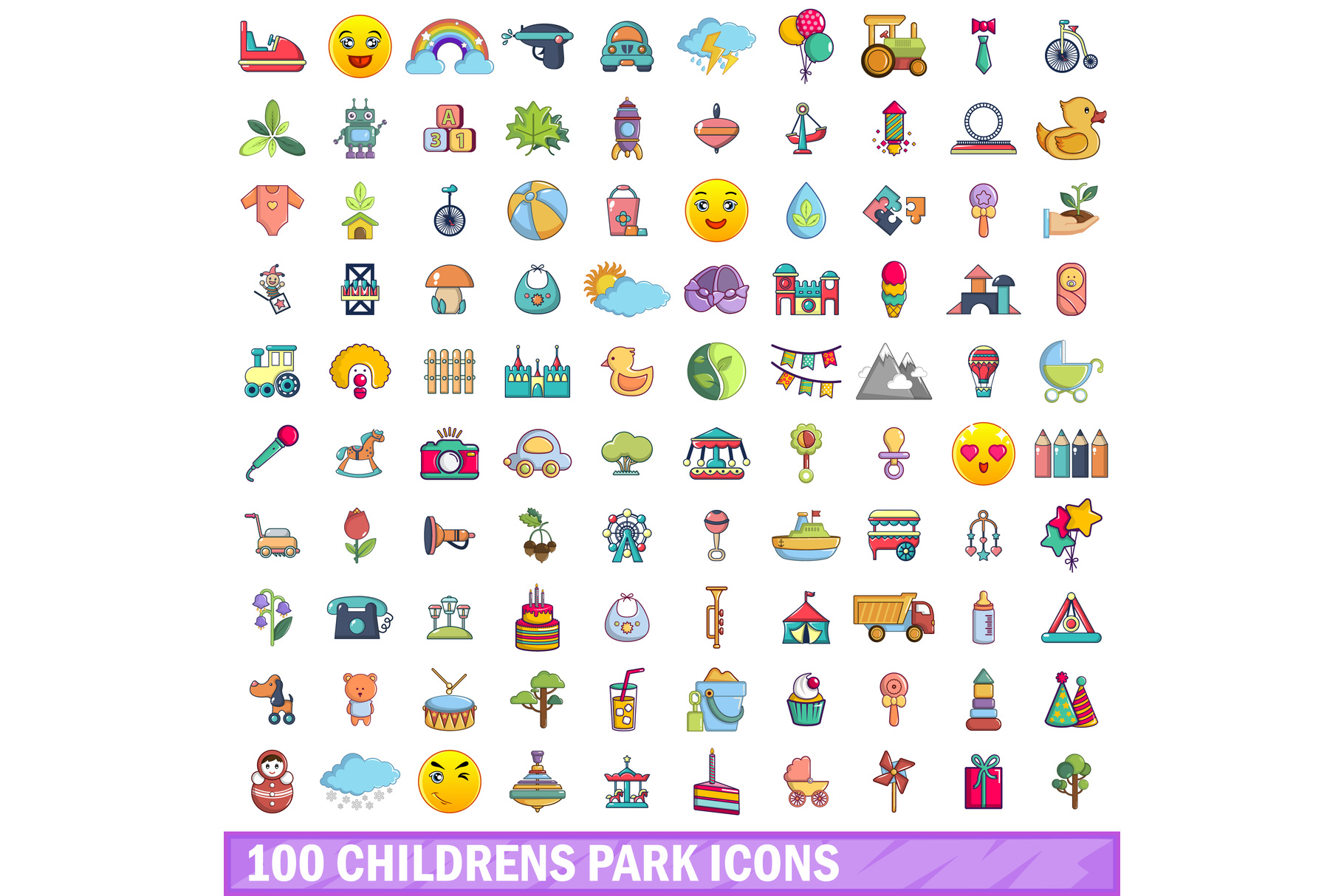 100 childrens park icons set, cartoon style example image 1