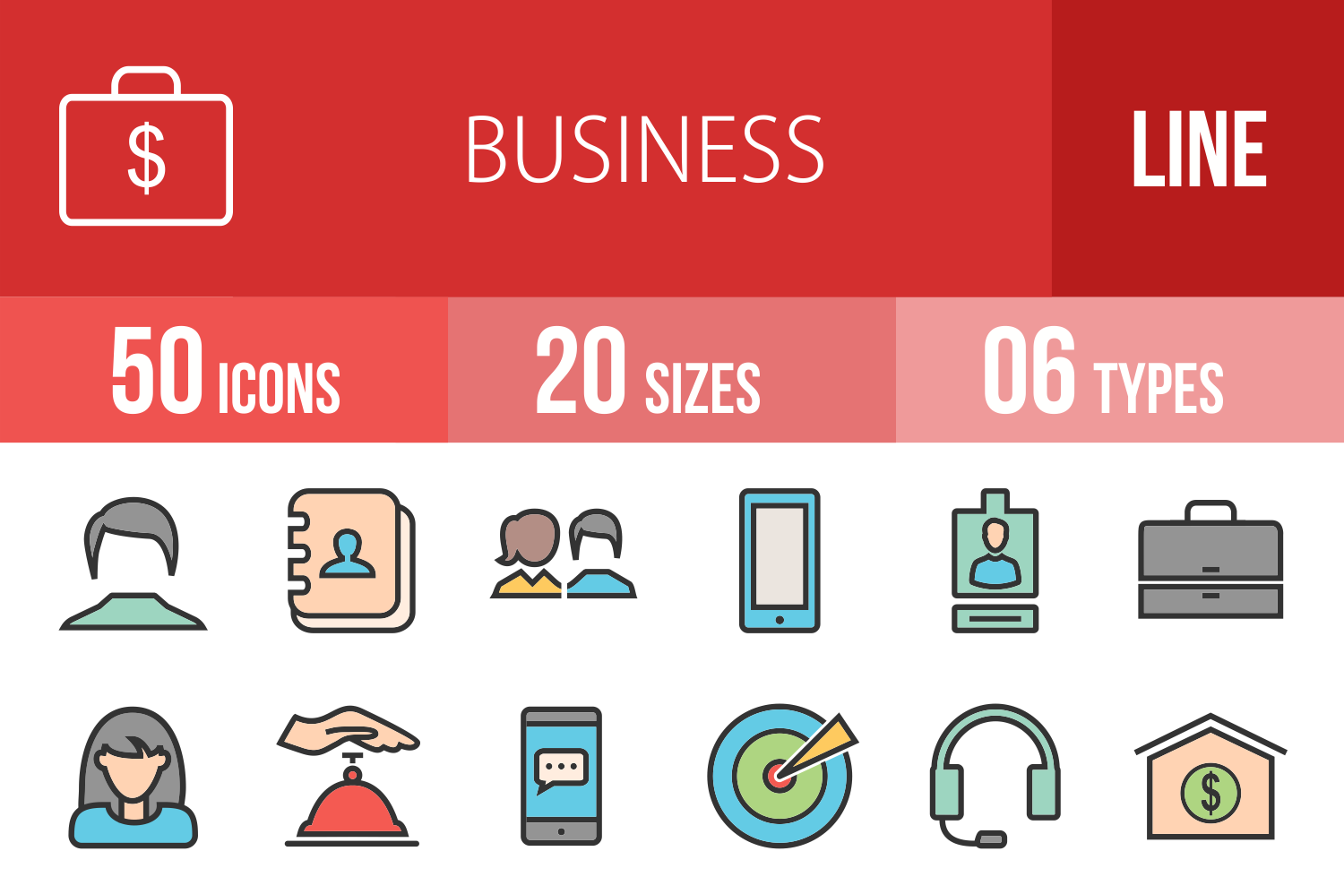 50 Business Linear Multicolor Icons example image 1