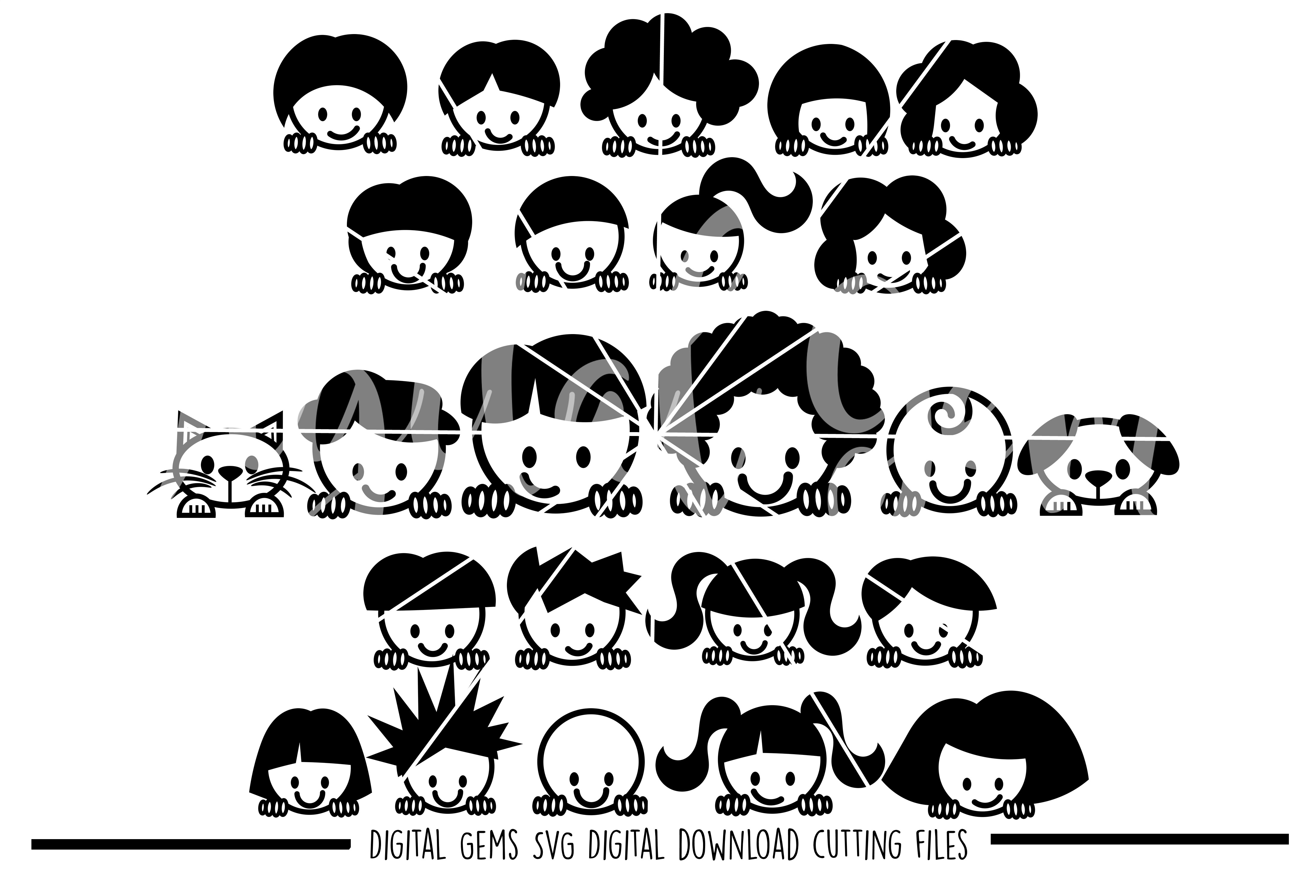 Peek a boo People SVG / DXF / EPS / PNG Files example image 1