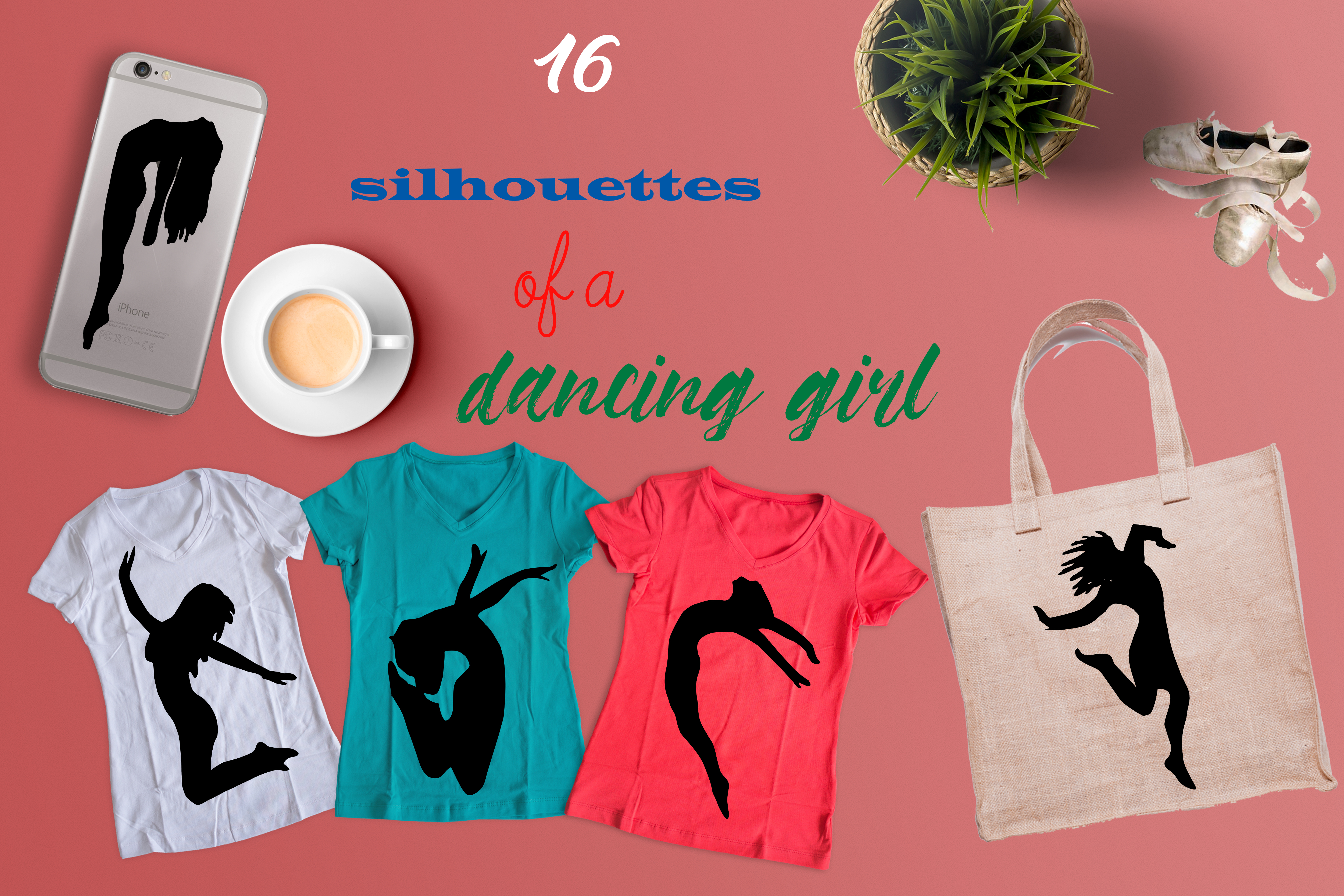 Set of 46 people silhouettes example image 5