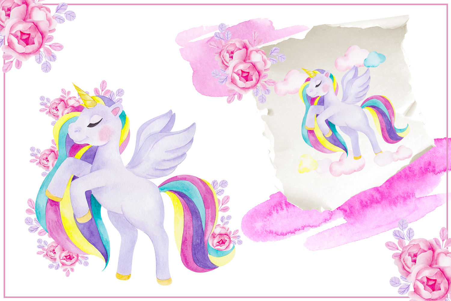 Cute unicorn. Illustrations and alphabet example image 3