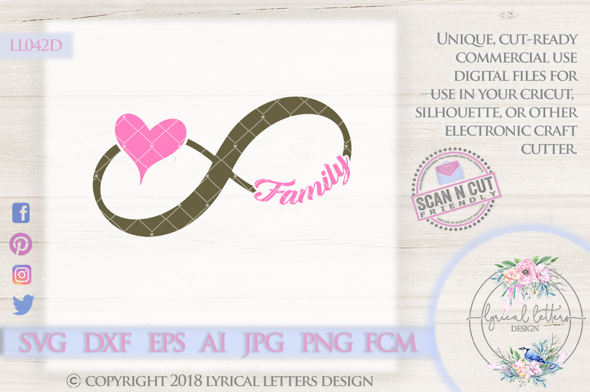 Family Infinity Symbol With Heart Svg Cut File Ll042d