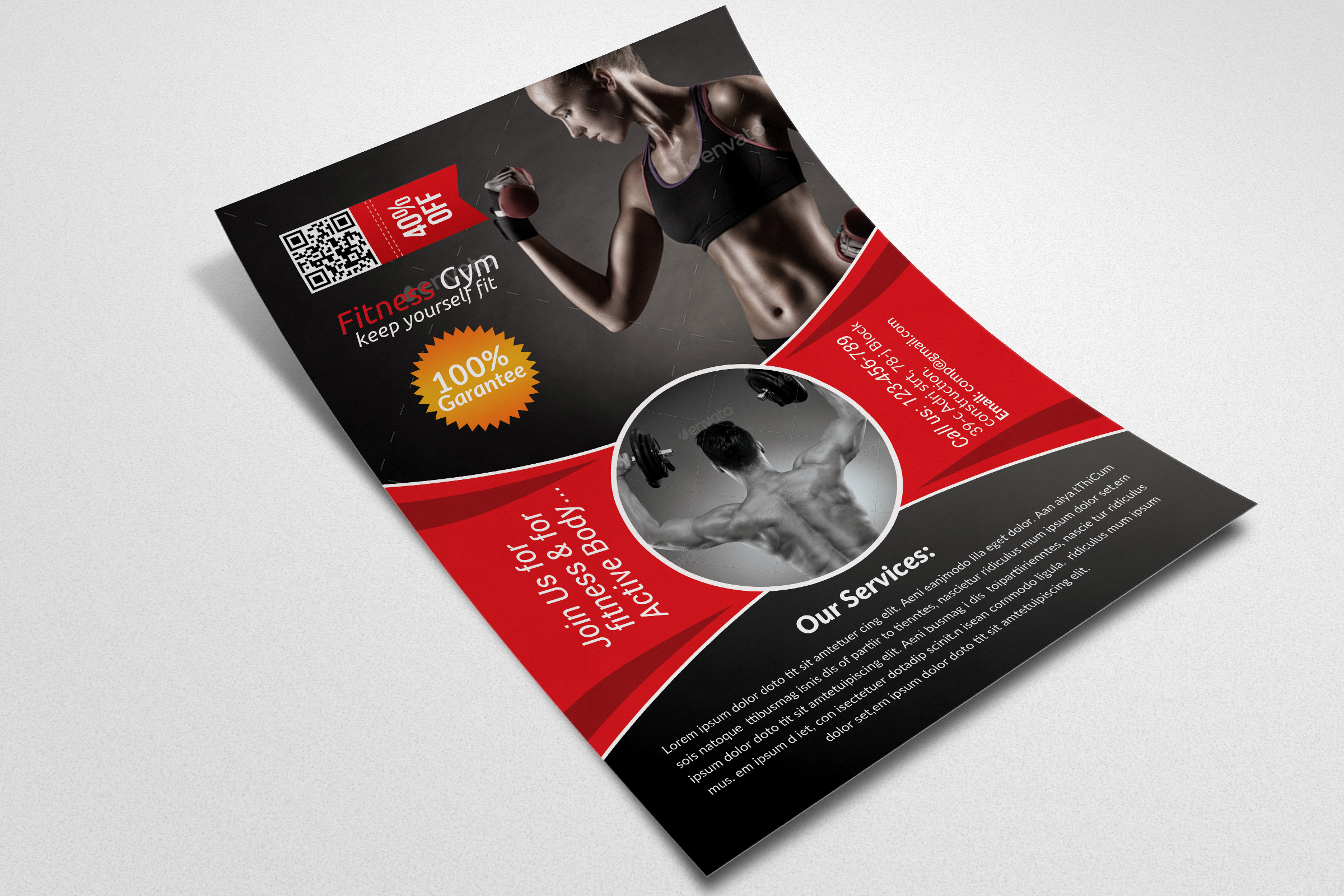 Body Fitness Club Flyer Template  example image 3