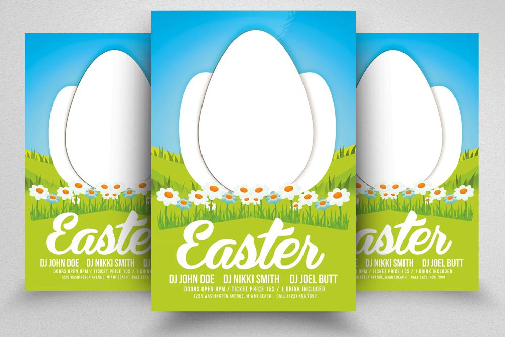 10 Easter Egg Psd Flyer Print Template Bundle example image 4