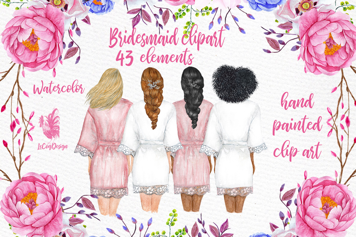 Bridesmaid Wedding Robes clipart, Bridal shower clipart example image 1