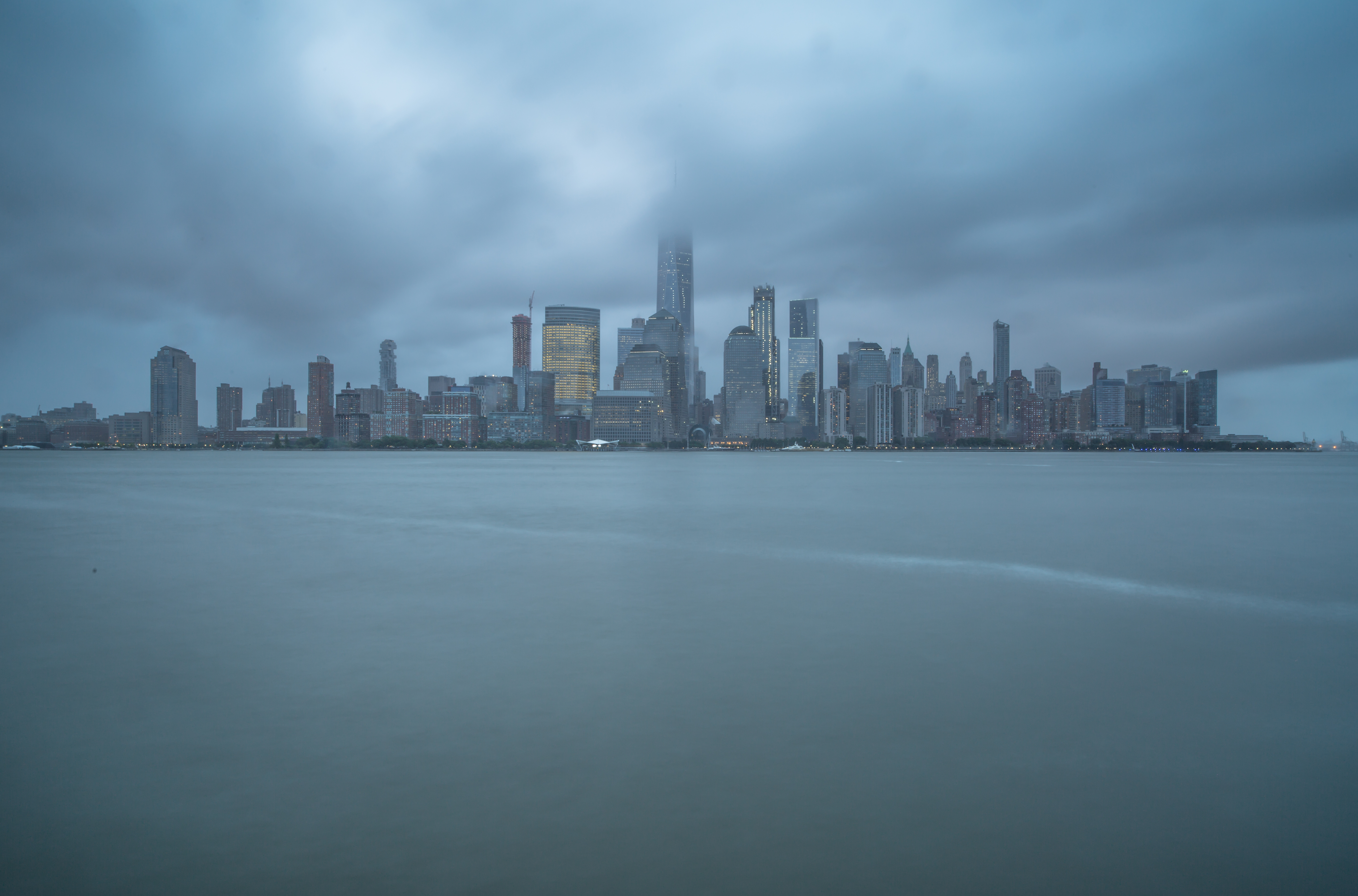 Downtown Manhattan view on a cloudy day example image 1