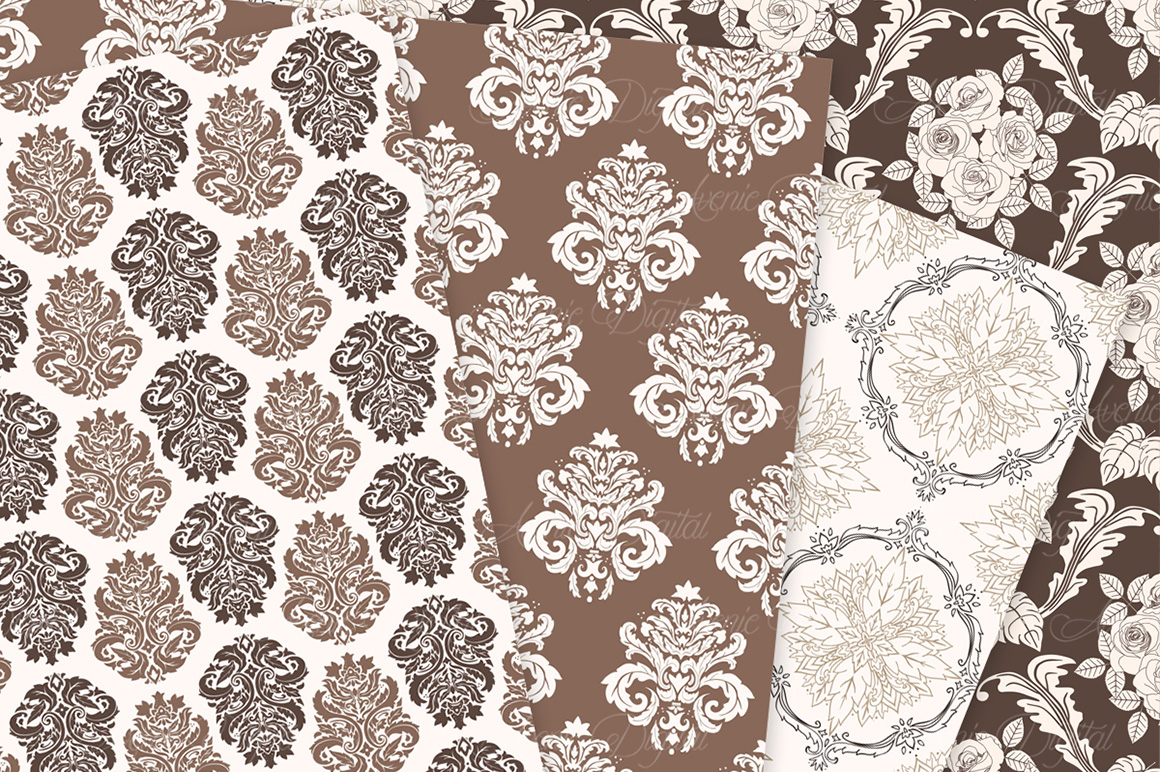 Brown Damask Patterns - Seamless Digital Papers example image 8