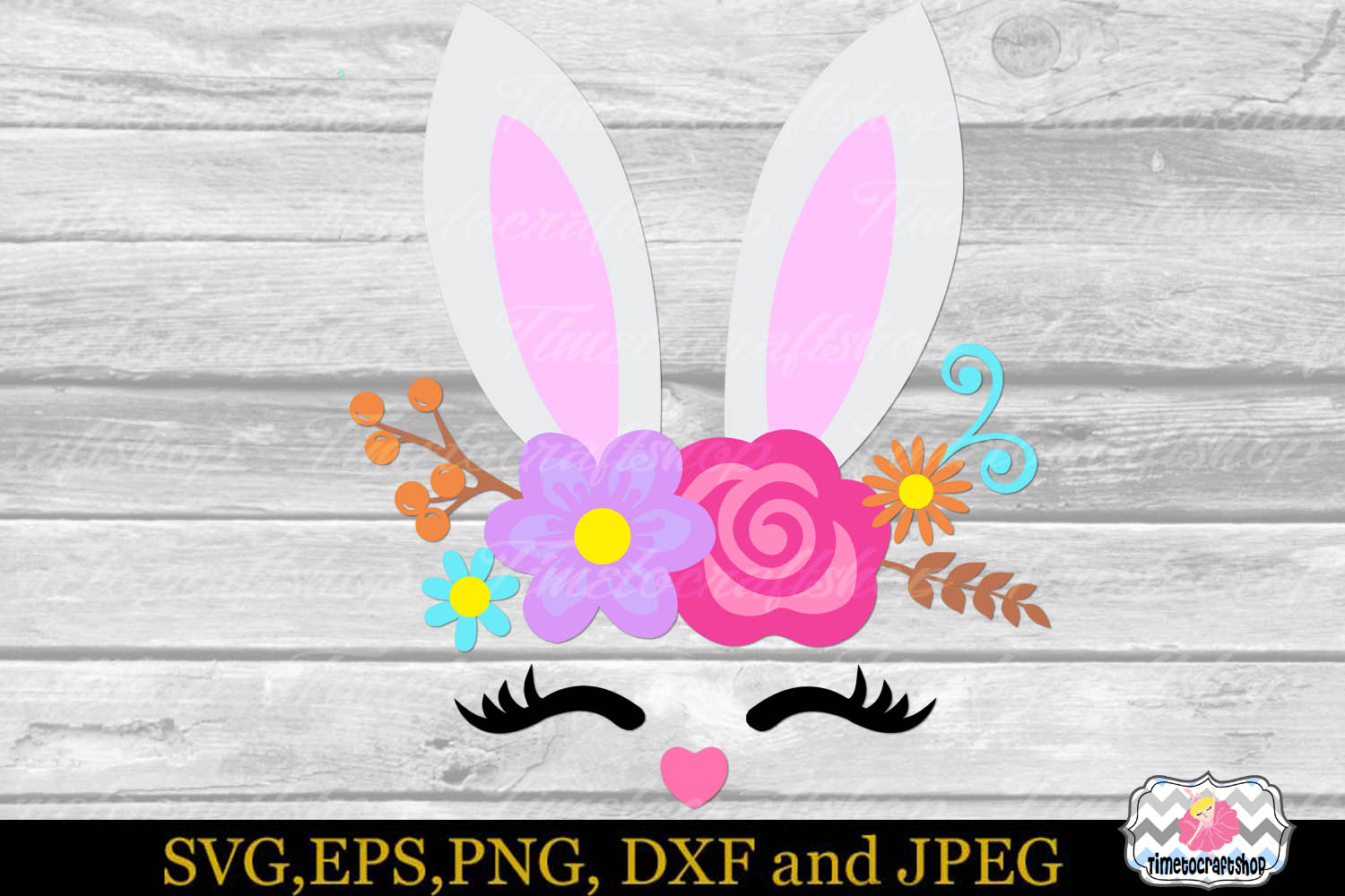 SVG, Dxf, Eps & Png Easter Bunny Smiling Face, Bunny Roses example image 2