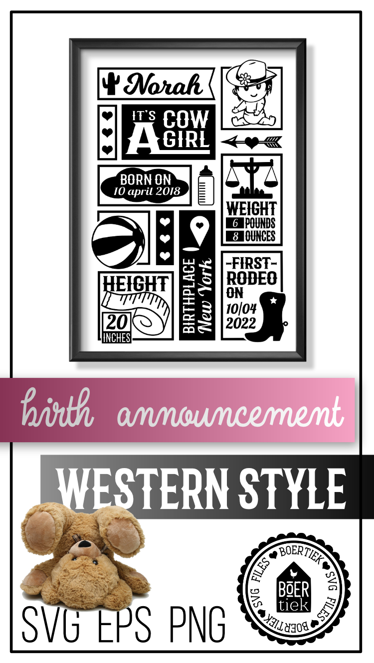 Cowgirl birth announcement, baby birth stats template, SVG example image 3