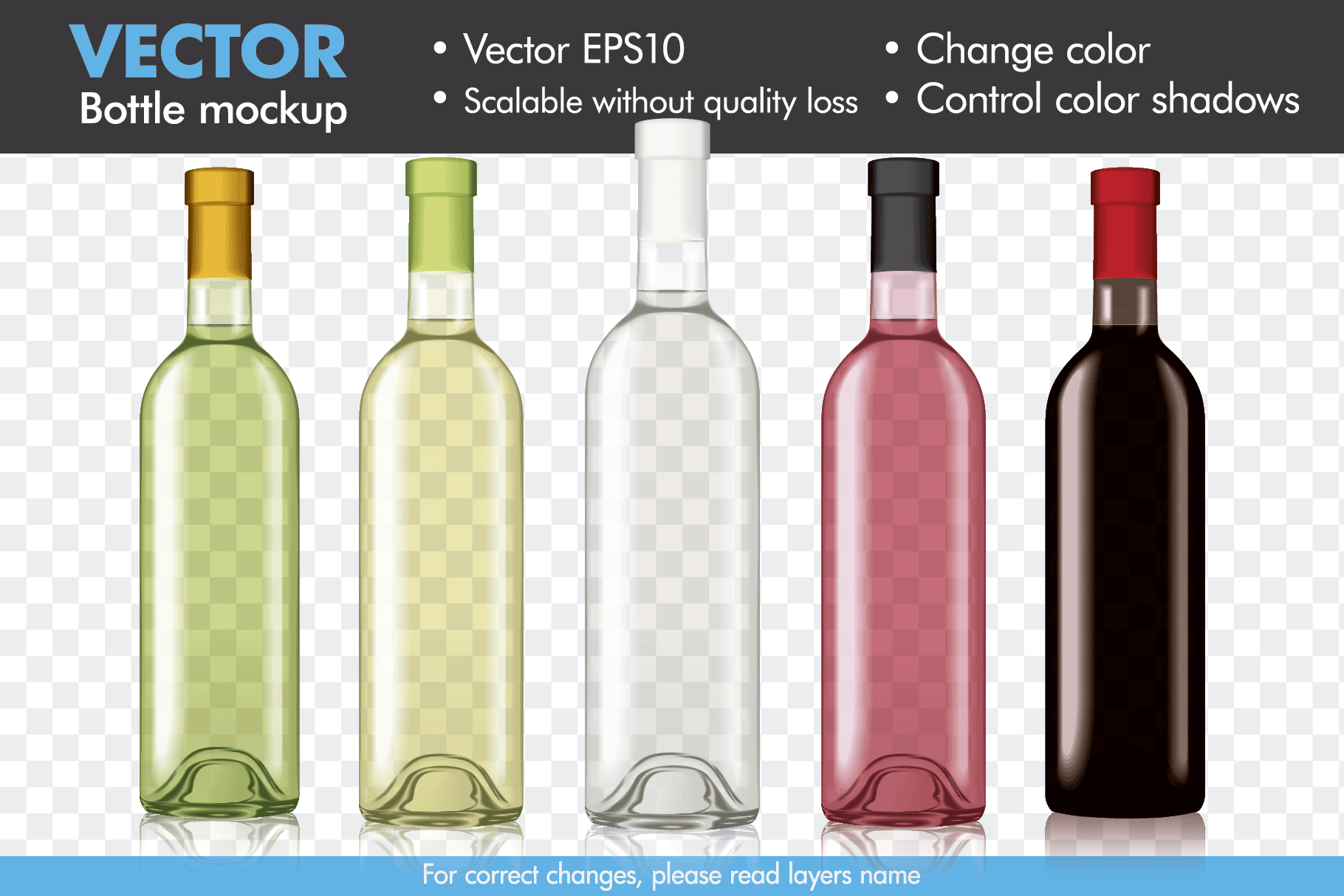 Vector Wine Bottle Mock-up Mockup Template example image 1